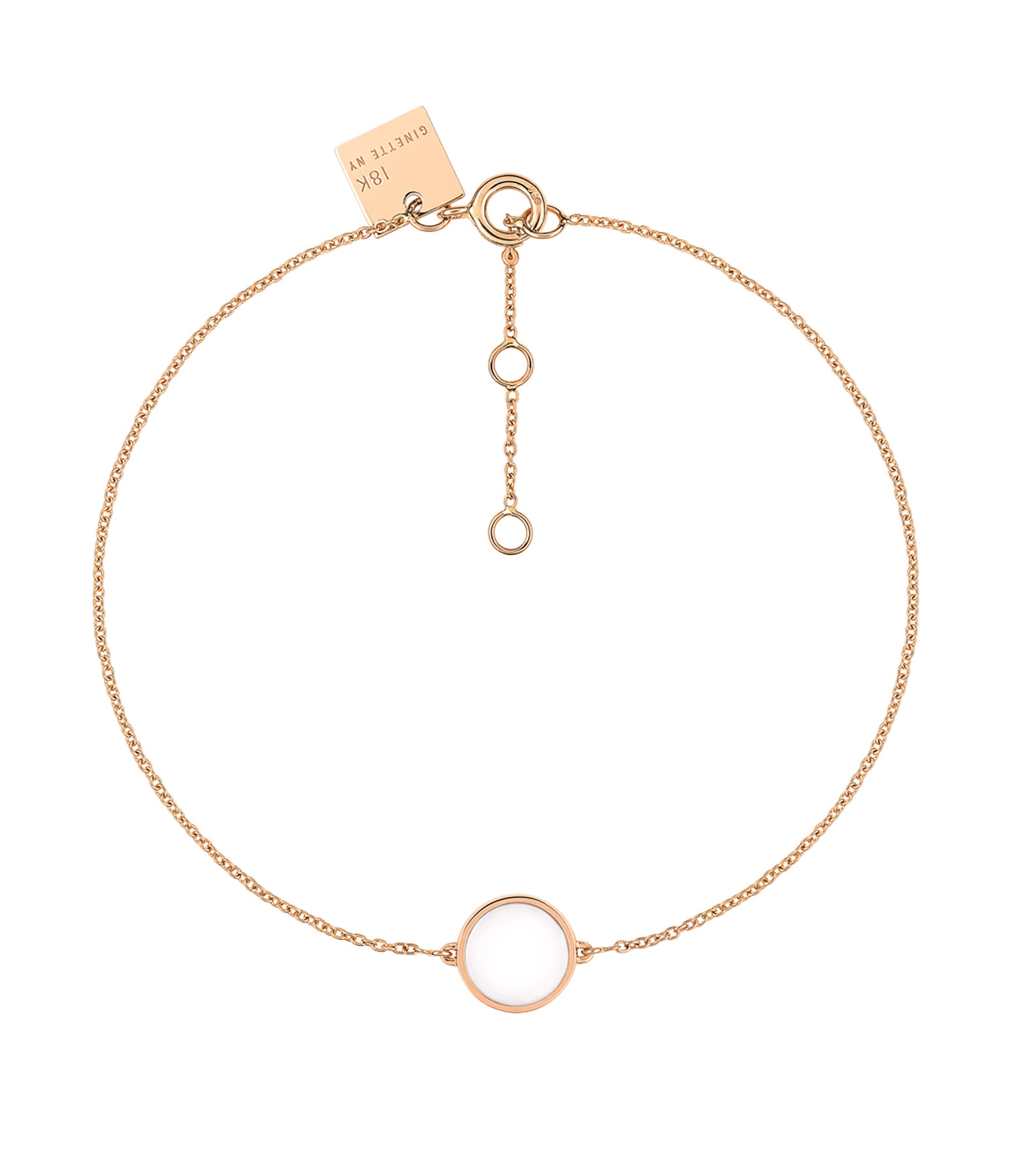 GINETTE NY - Bracelet Ever Mini Disc Or Rose Agate Blanche