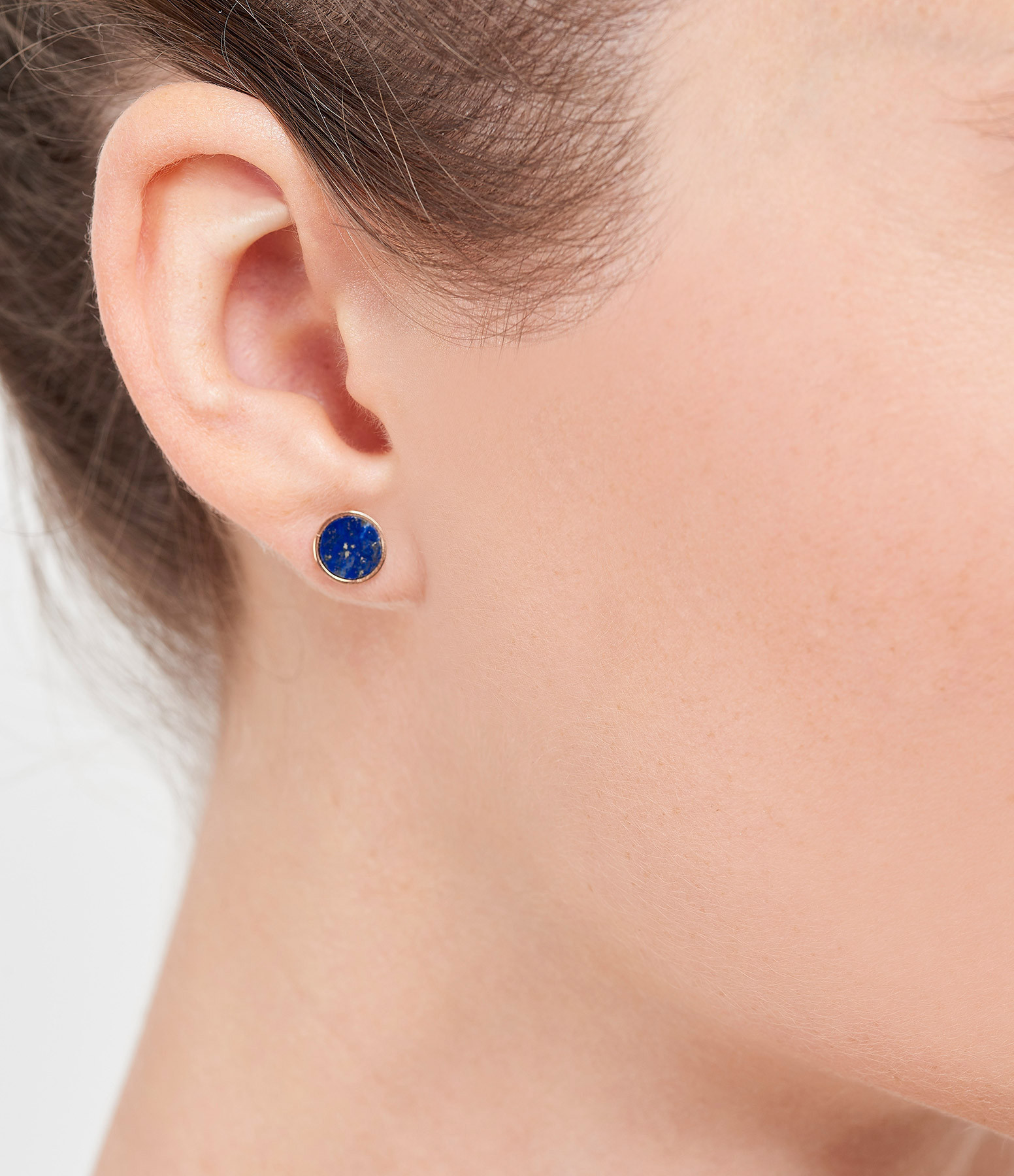 GINETTE NY - Boucles d'oreilles Ever Disc Or Rose Lapis Lazuli