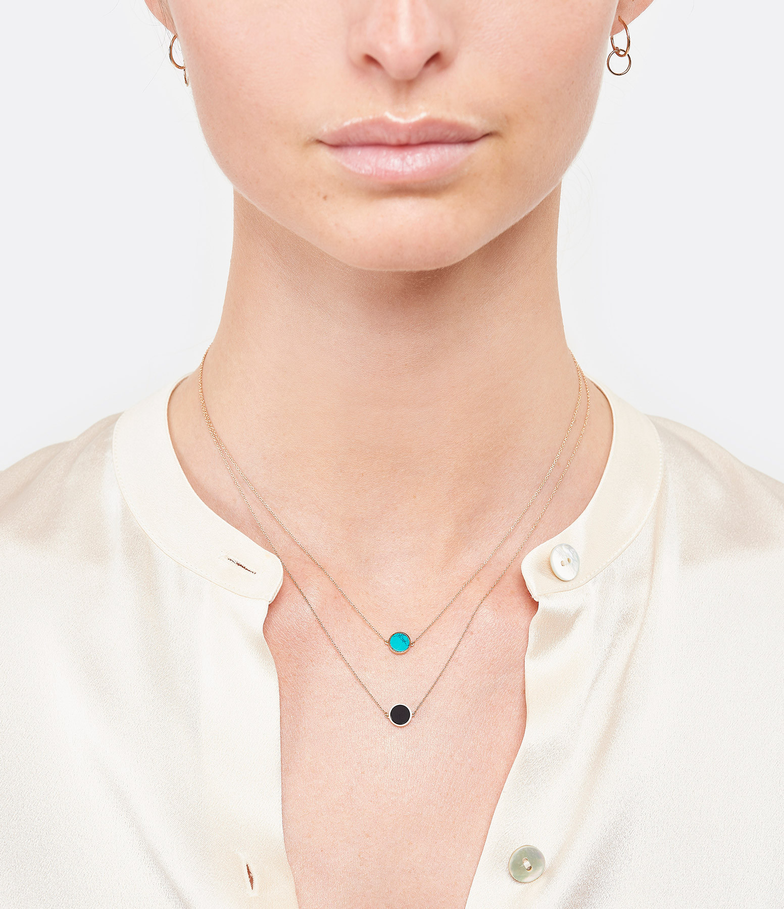 GINETTE NY - Collier Ever Mini Disc Or Rose Turquoise