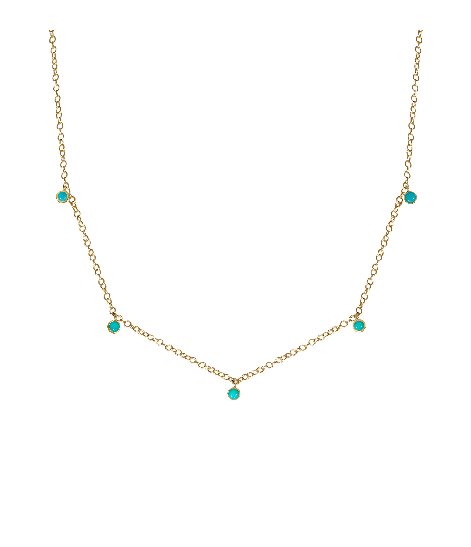 AND...PARIS - Collier 5 Gouttes Or Turquoise