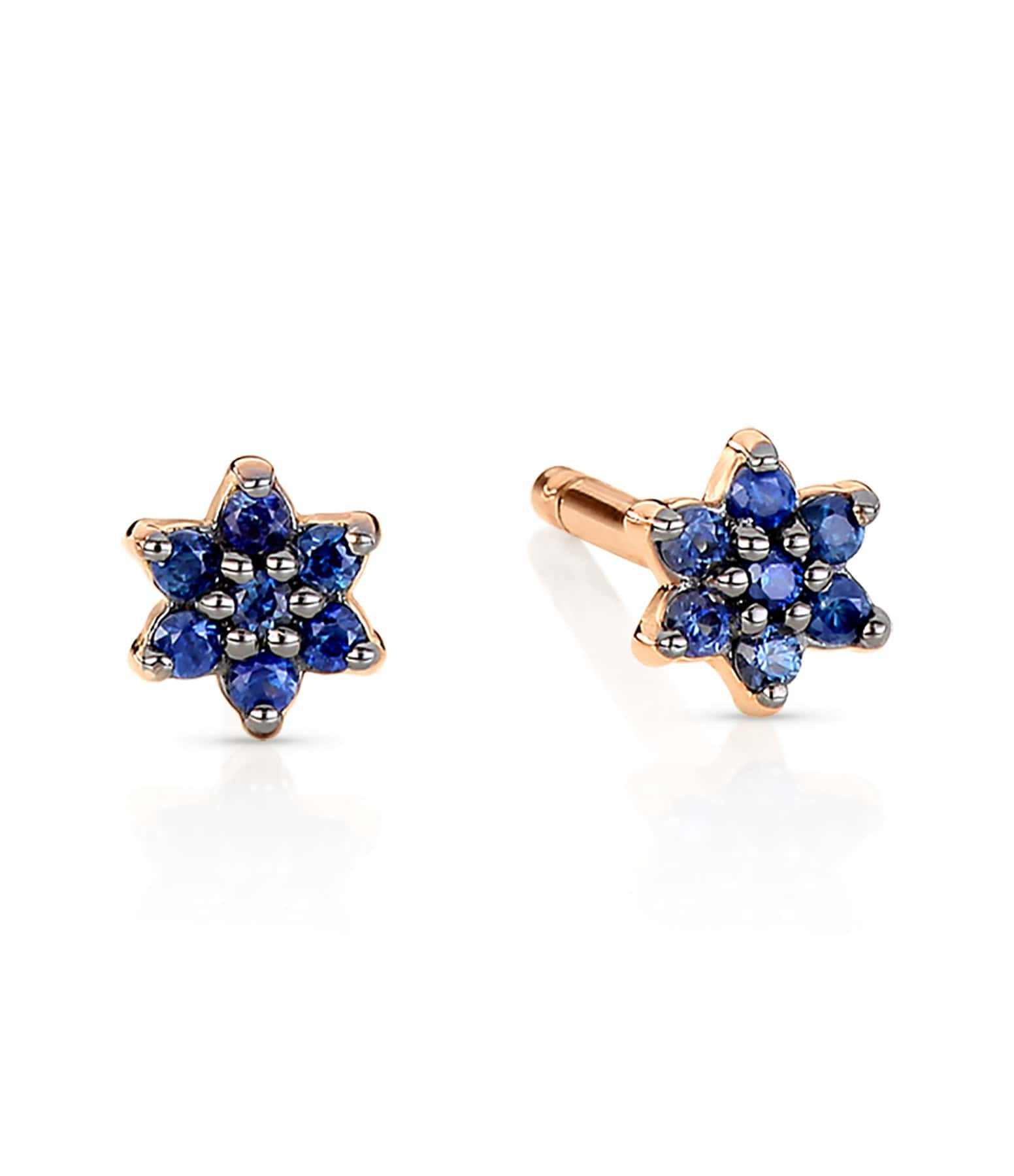 GINETTE NY - Boucles d'oreilles Mini Star Puces Saphirs Or Rose