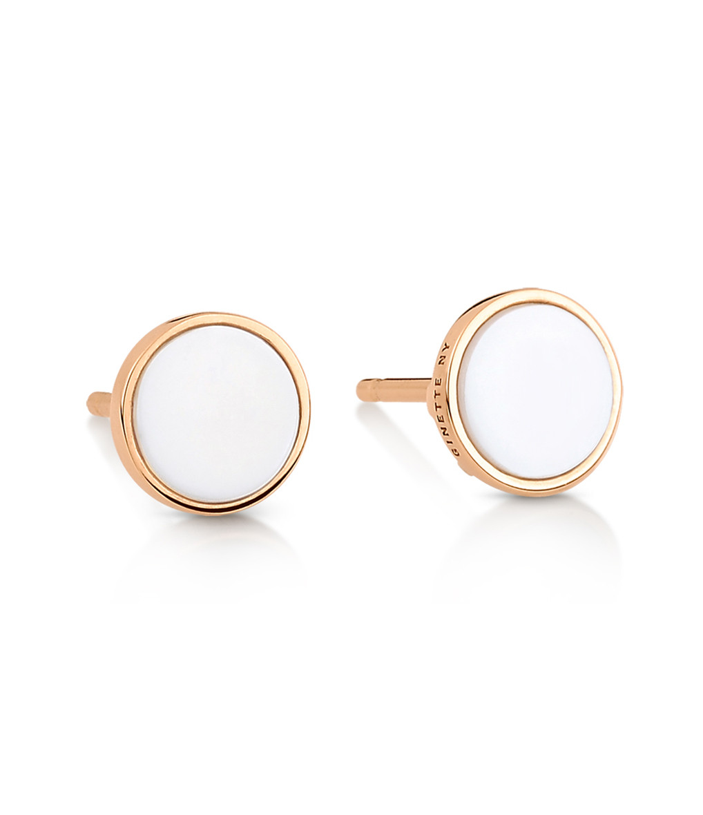GINETTE NY - Boucles d'oreilles Ever Disc Or Rose Agate Blanche