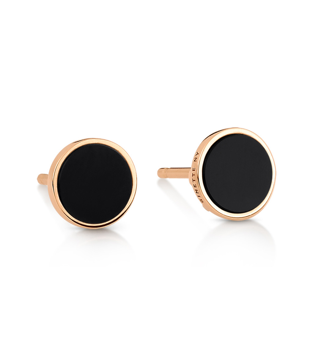 GINETTE NY - Boucles d'oreilles Ever Disc Or Rose Onyx