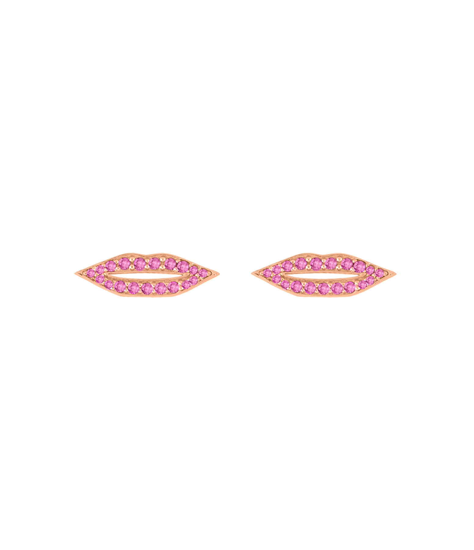 GINETTE NY - Boucle d'oreille French Kiss Saphirs Roses Or Rose