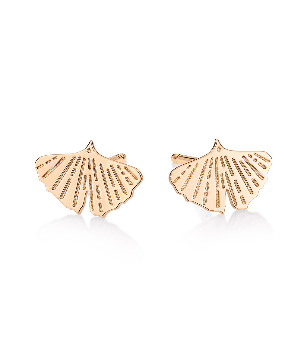 GINETTE_NY - Boucles d'oreilles Gingko Or Rose