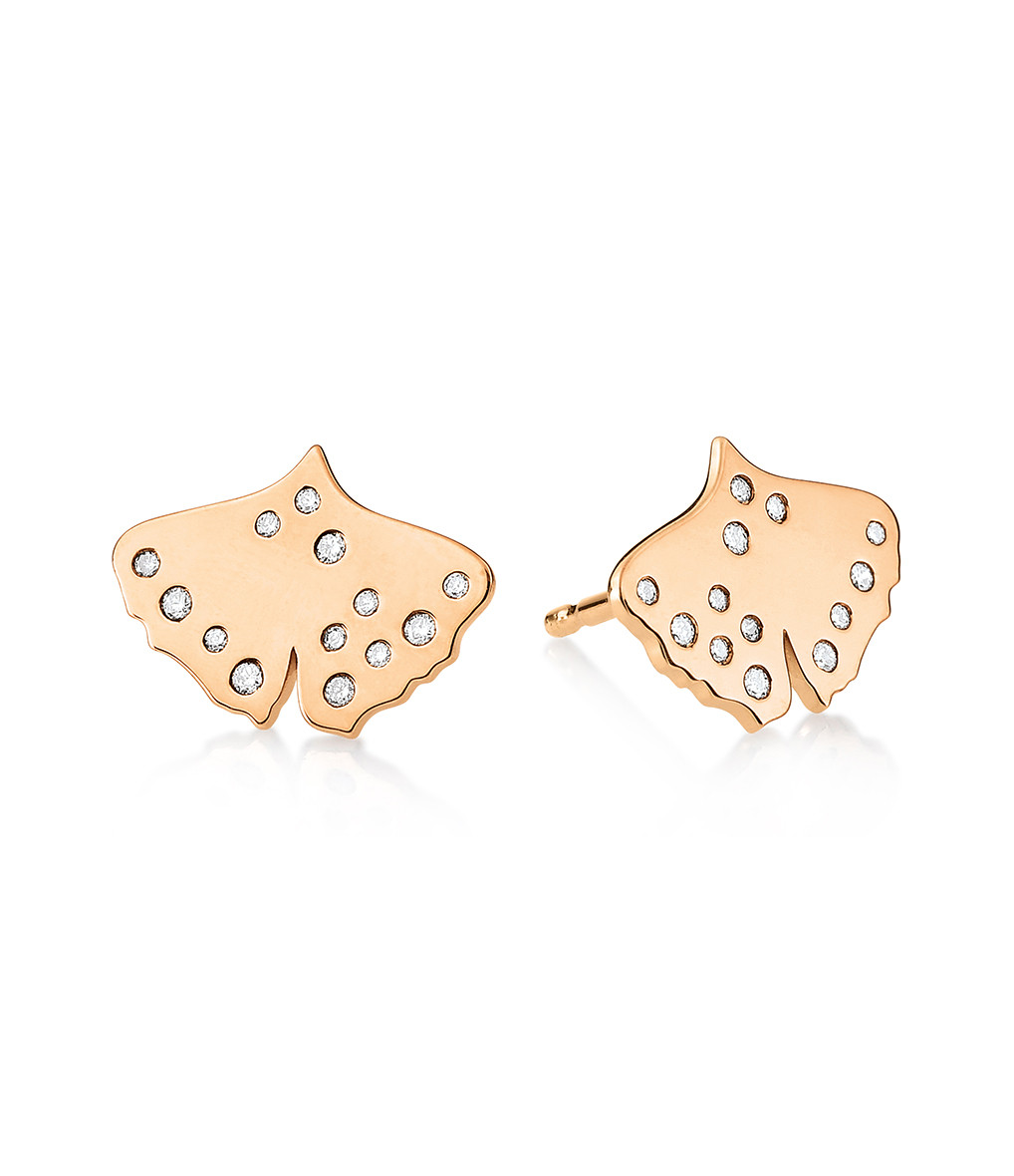 GINETTE_NY - Boucles d'oreilles Gingko Diamants Or Rose