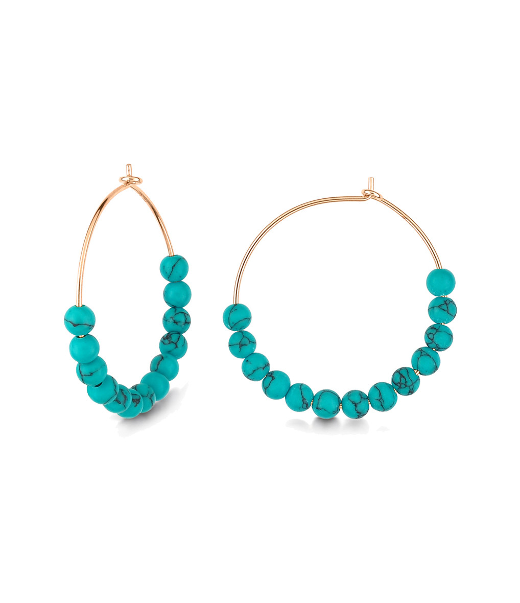 GINETTE_NY - Créoles Maria Or Rose Turquoise