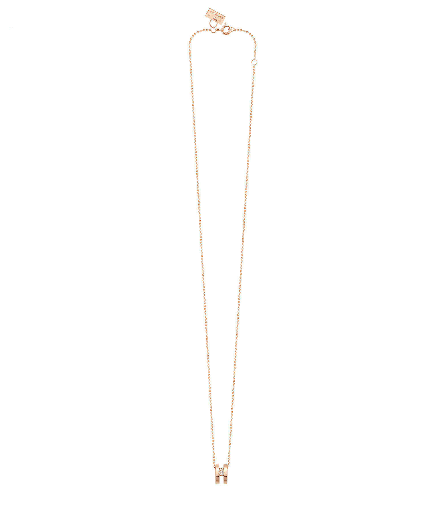 VANRYCKE - Collier Charlie Double Or Rose Rose Diamant