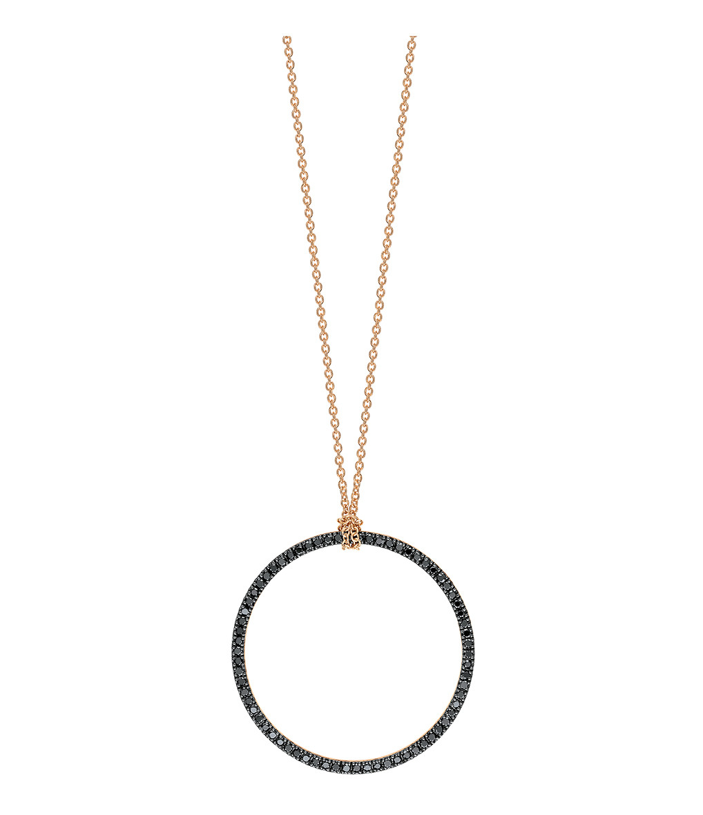 GINETTE_NY - Collier Black Diamonds Circle Baby Diamants Or Rose