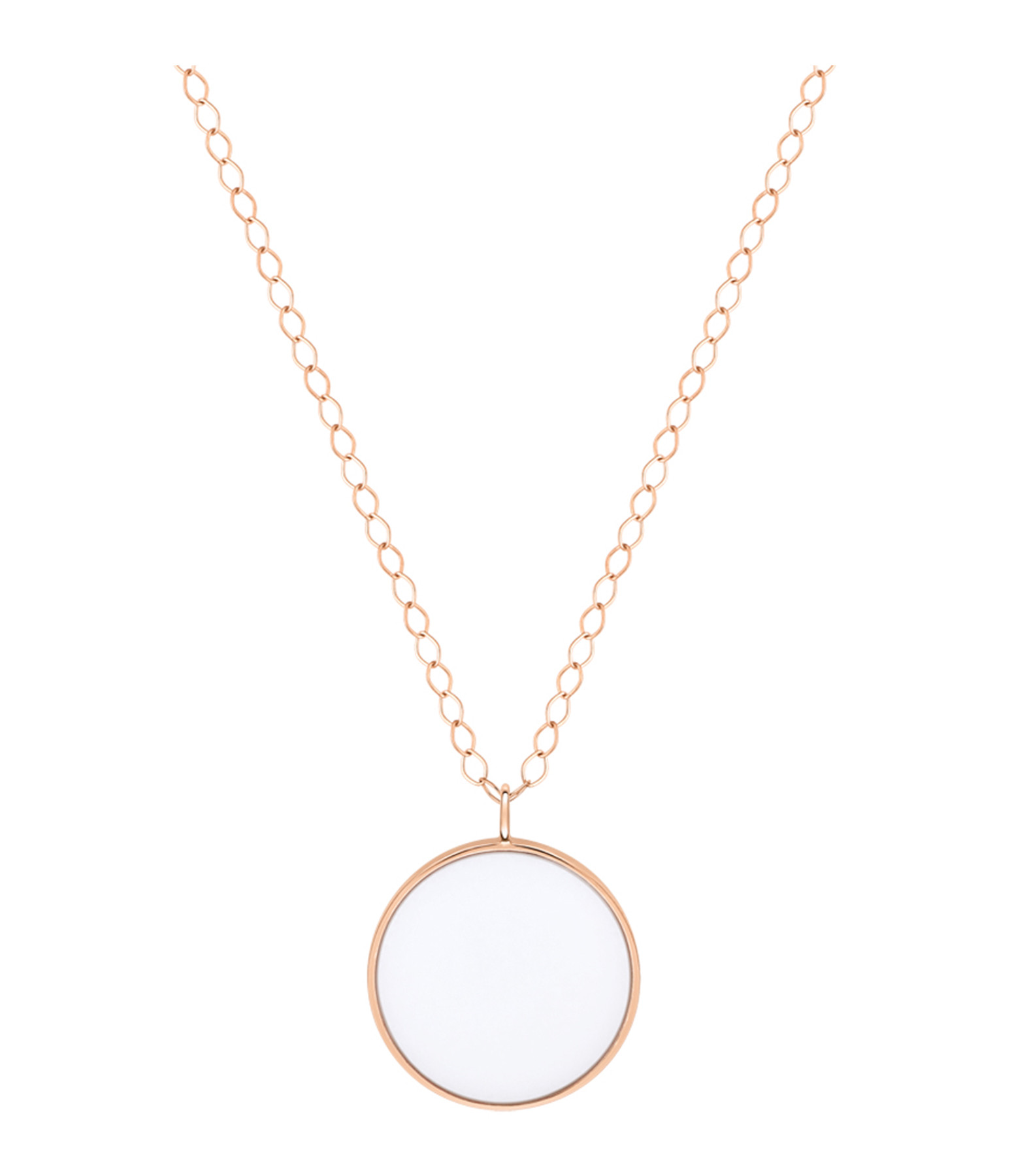 GINETTE NY - Collier Ever Disc Jumbo Or Rose Agate Blanche