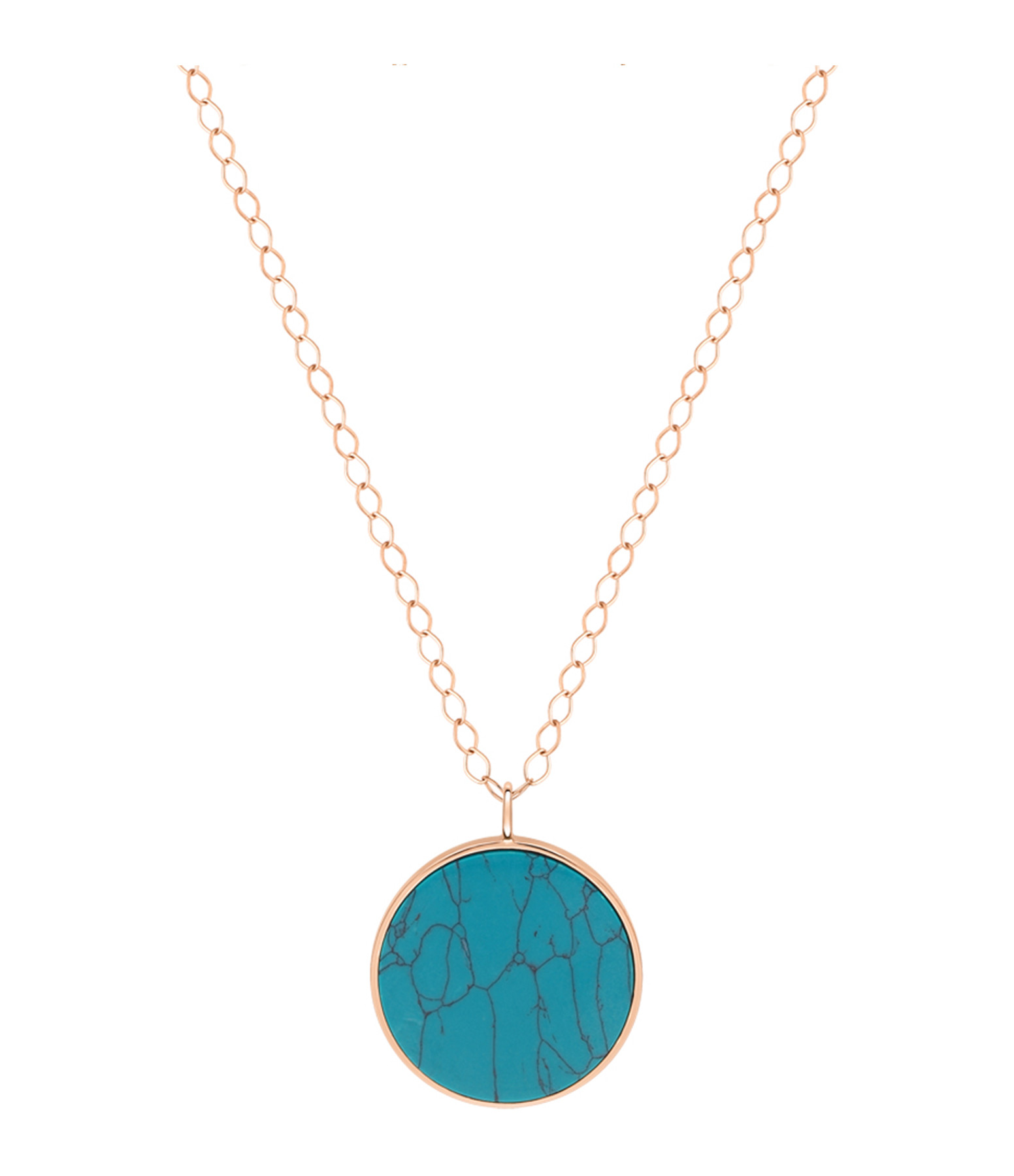 GINETTE NY - Collier Ever Disc Jumbo Or Rose Turquoise