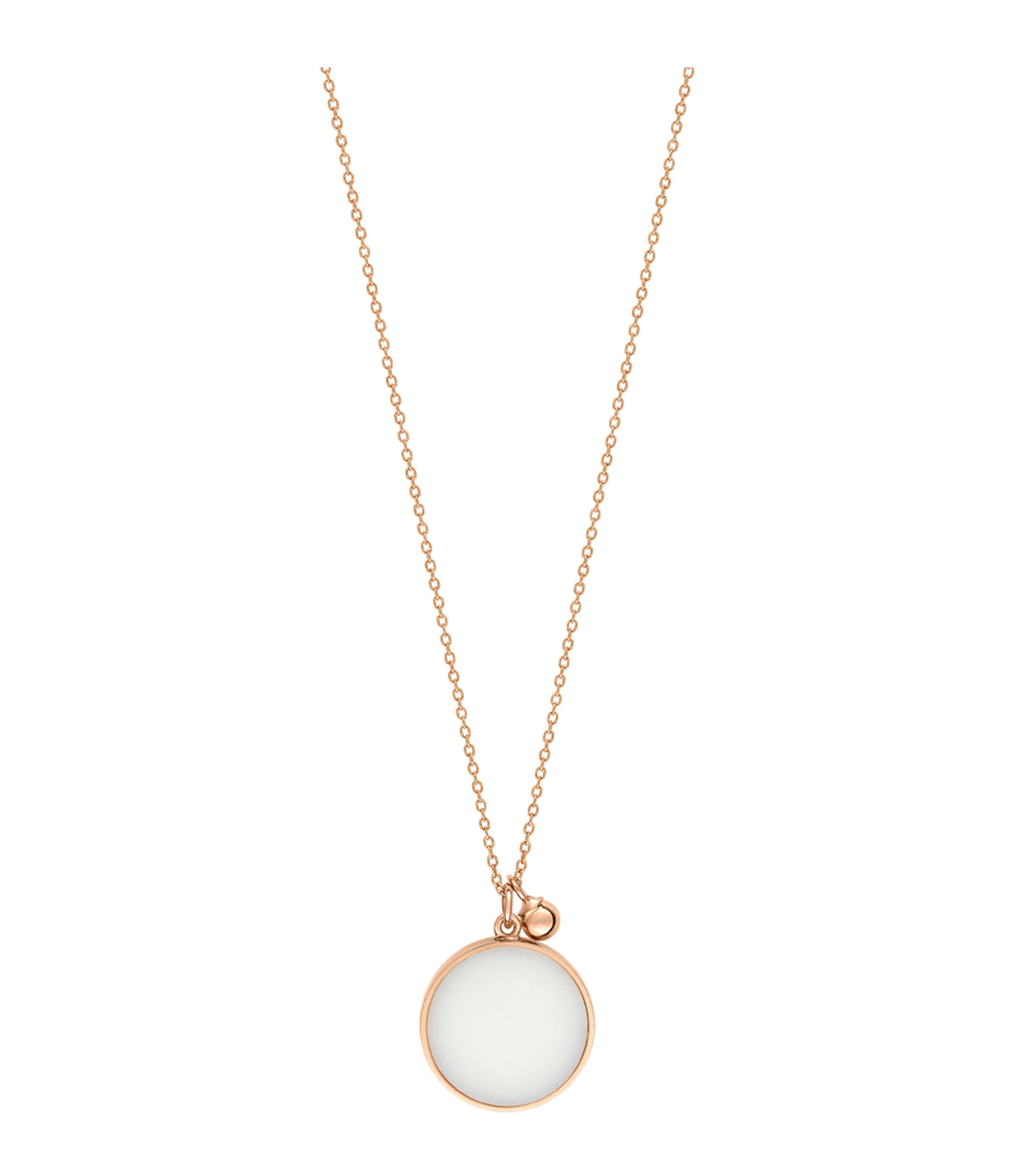 GINETTE NY - Collier Ever Disc Or Rose Agate Blanche