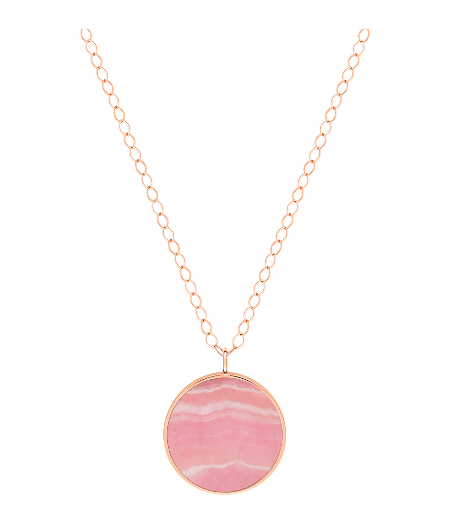 GINETTE NY - Collier Ever Disc JumBoucle d'oreille Or Rose Rhodocrosite