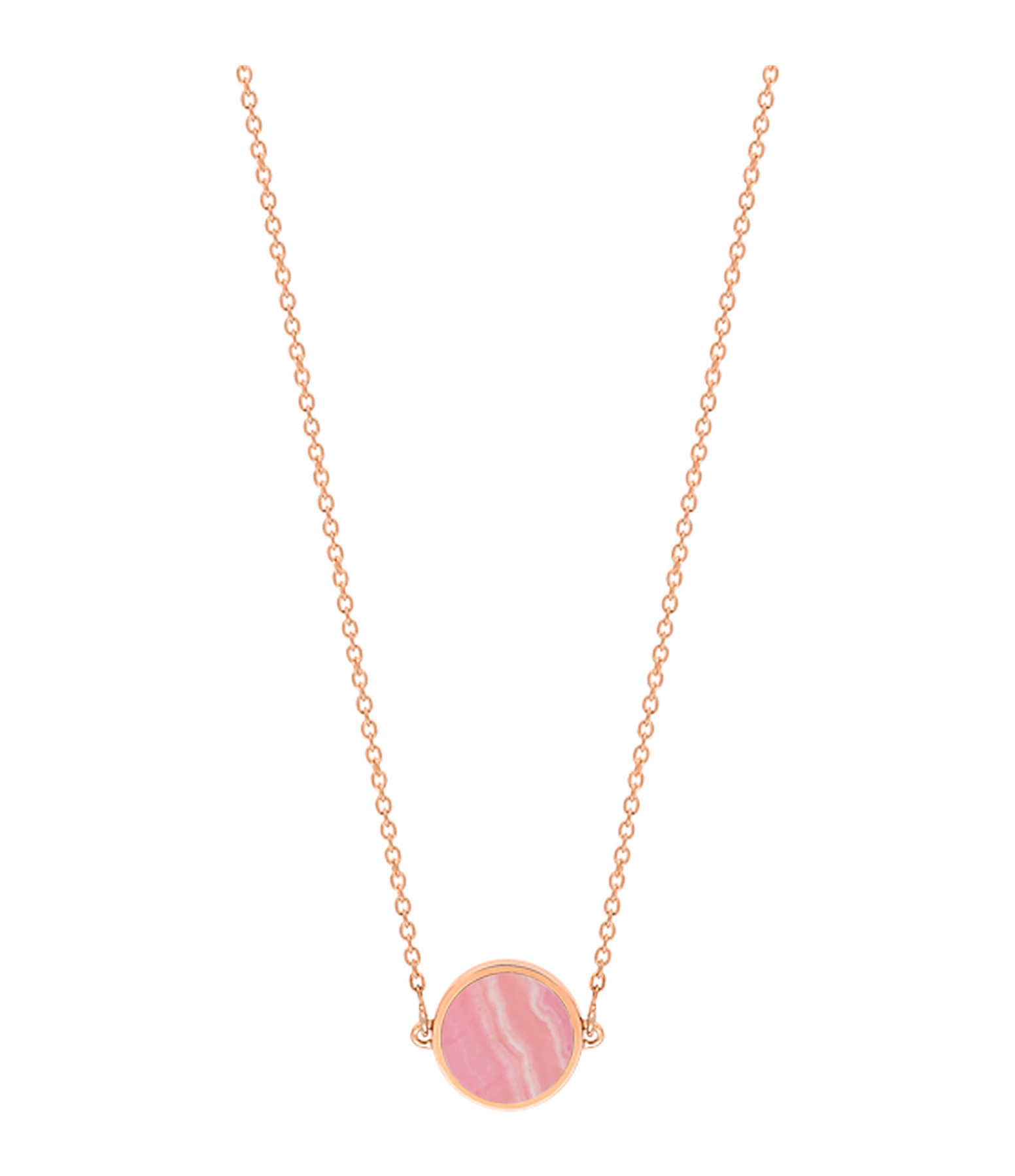 GINETTE NY - Collier Ever Mini Disc Or Rose Rhodocrosite