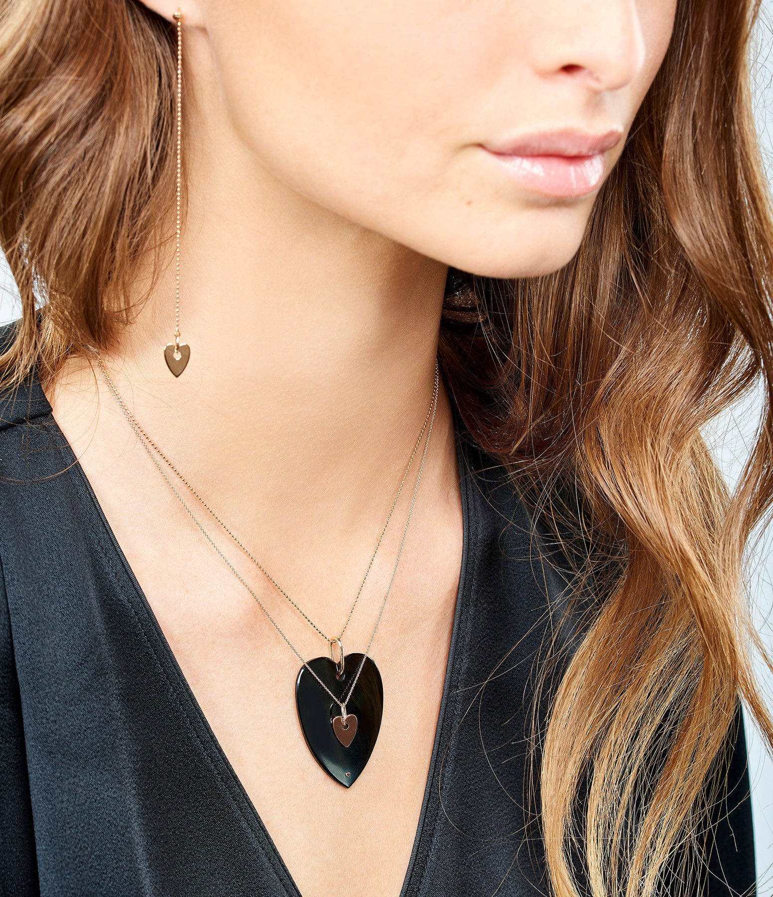 GINETTE_NY - Collier Angèle Jumbo Coeur Onyx