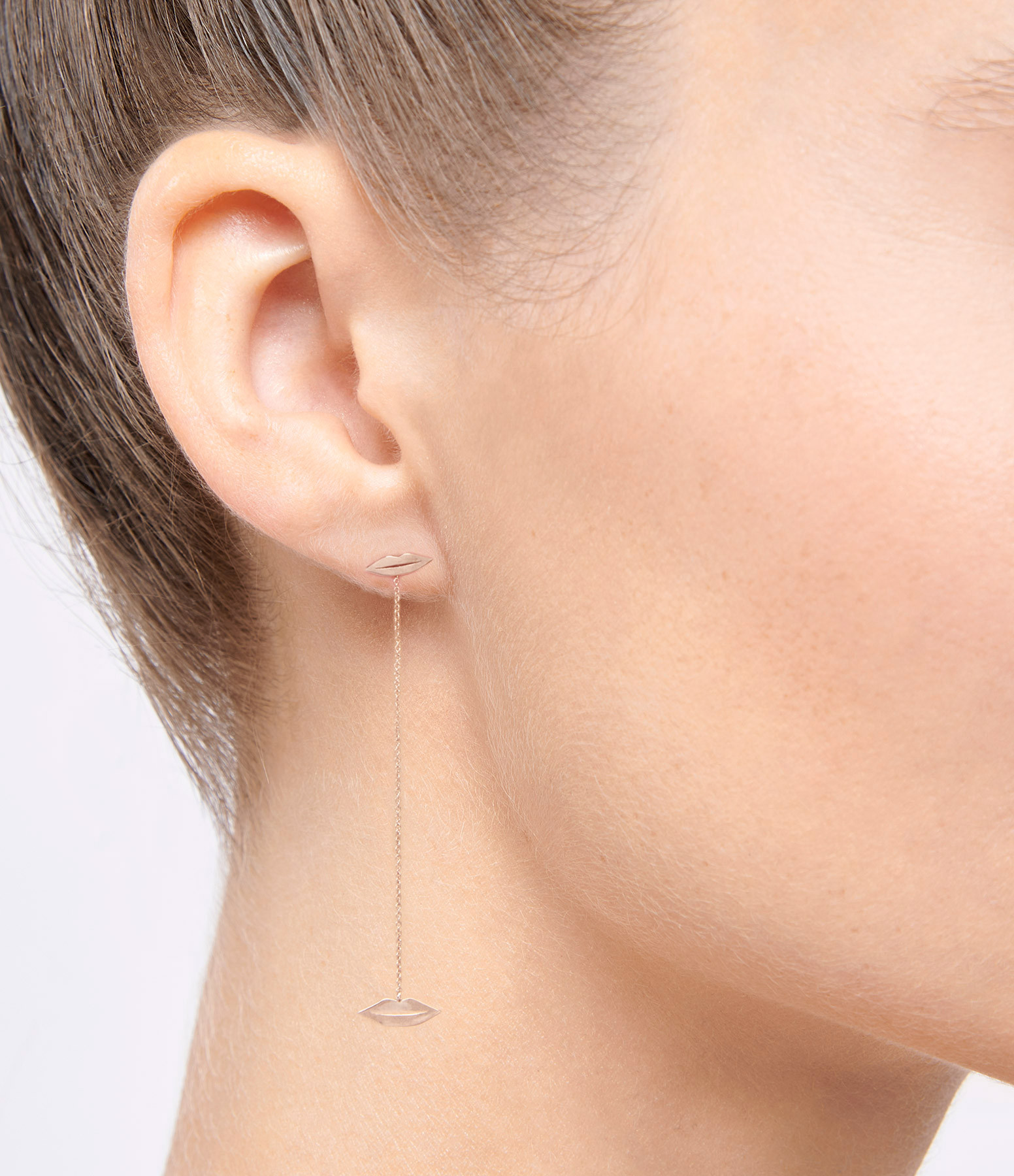 GINETTE NY - Boucles d'oreilles French Kiss Longues Or Rose