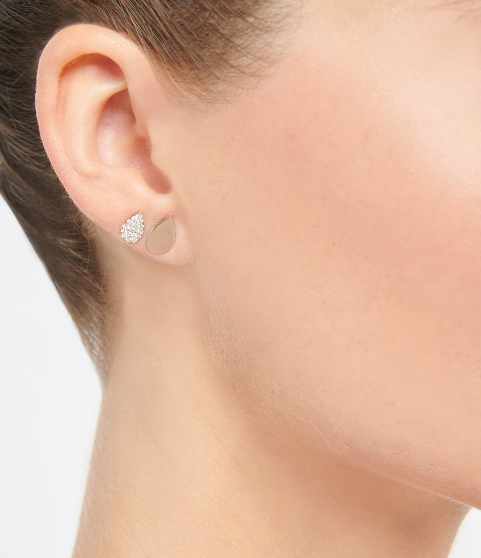 GINETTE NY - Boucles d'oreilles Bliss Puces Diamants Or Rose