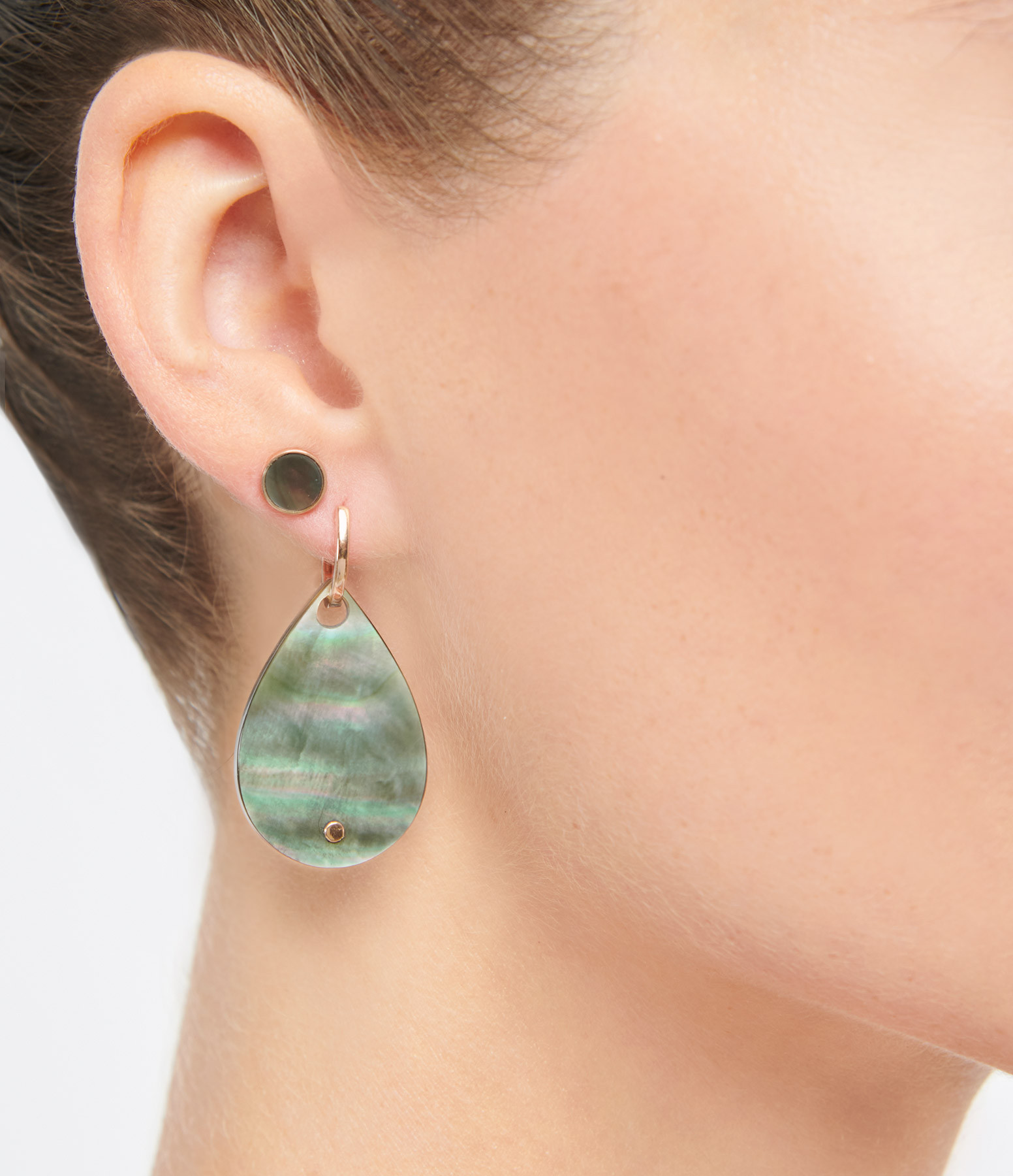 GINETTE NY - Boucles d'oreilles Bliss Black Mop Or Rose