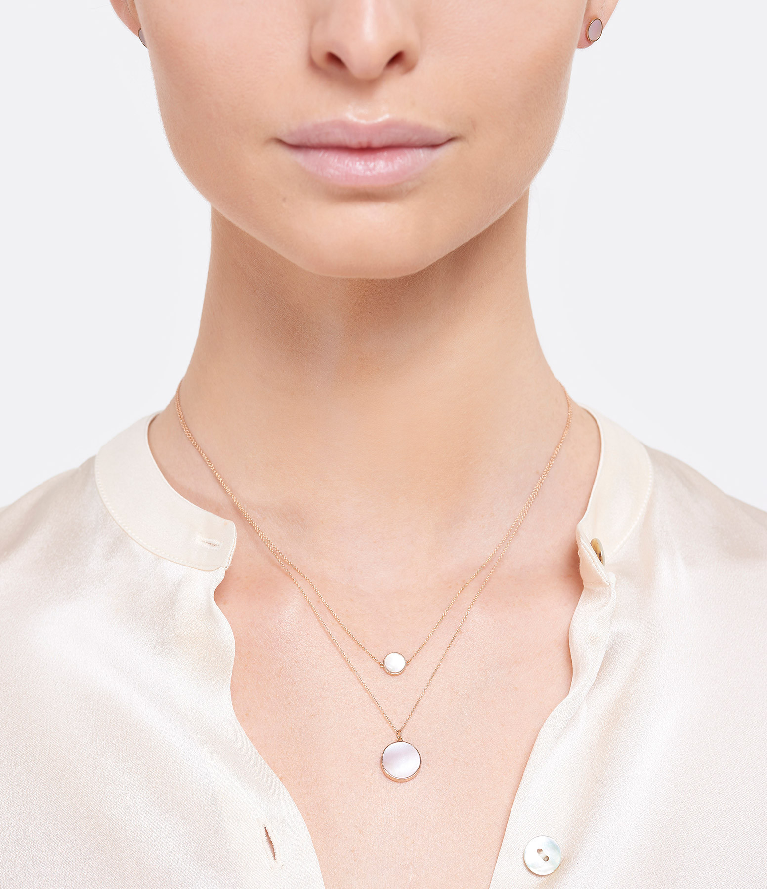 GINETTE NY - Collier Ever Mini Disc Or Rose Nacre Rose