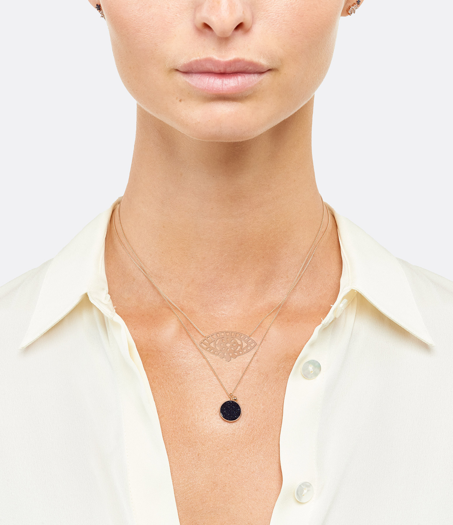 GINETTE NY - Collier Ever Jumbo Blue Sand Stone Disc Or Rose
