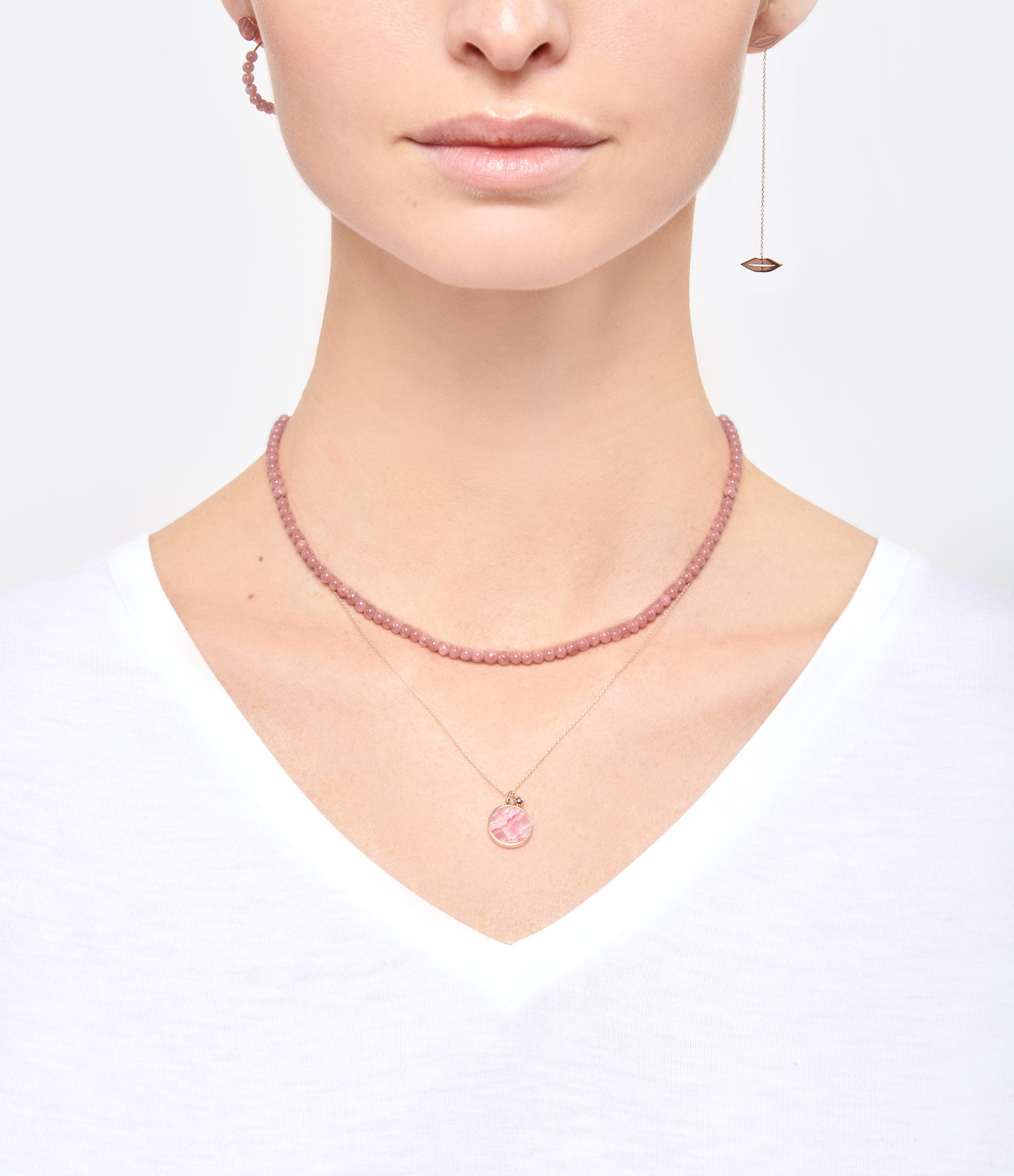 GINETTE NY - Collier Ever Disc Or Rose Rhodocrosite