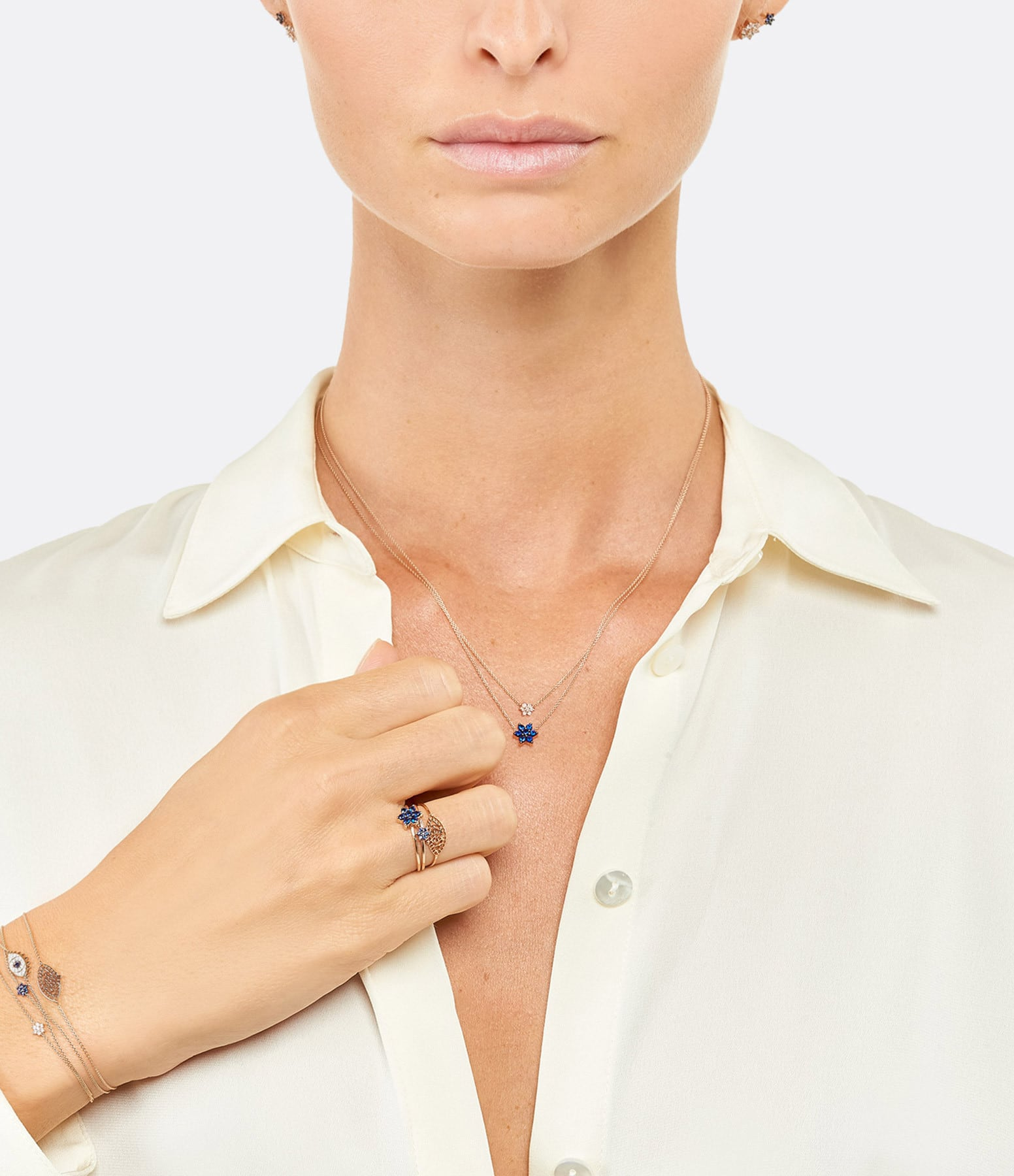 GINETTE NY - Bague Mini Star Saphirs Or Rose