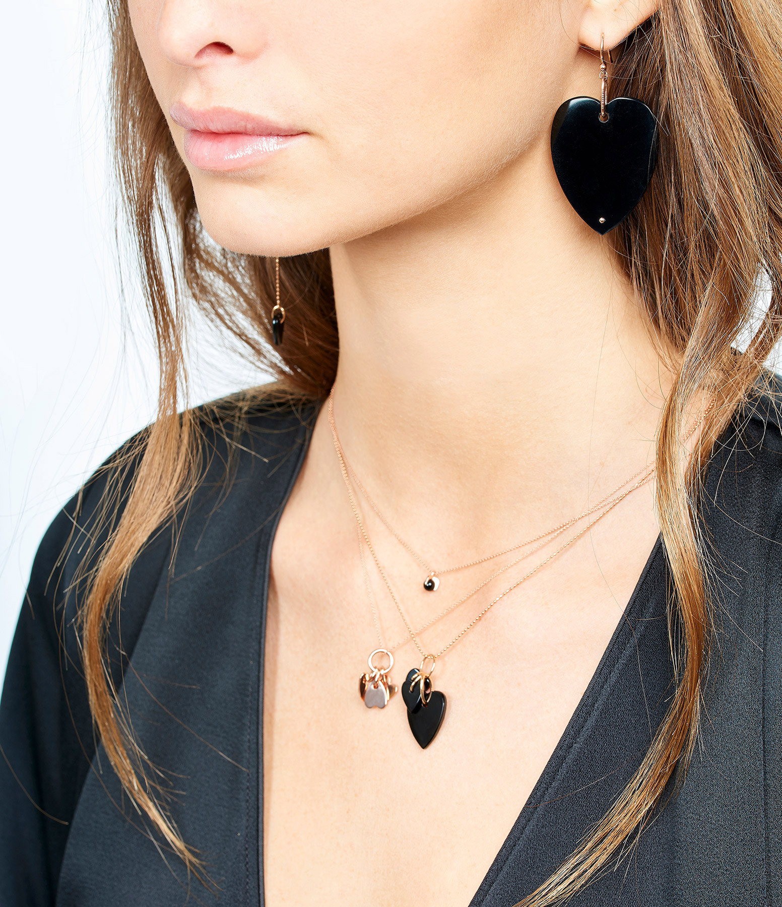 GINETTE_NY - Collier Angèle 3 Mini Coeurs Onyx