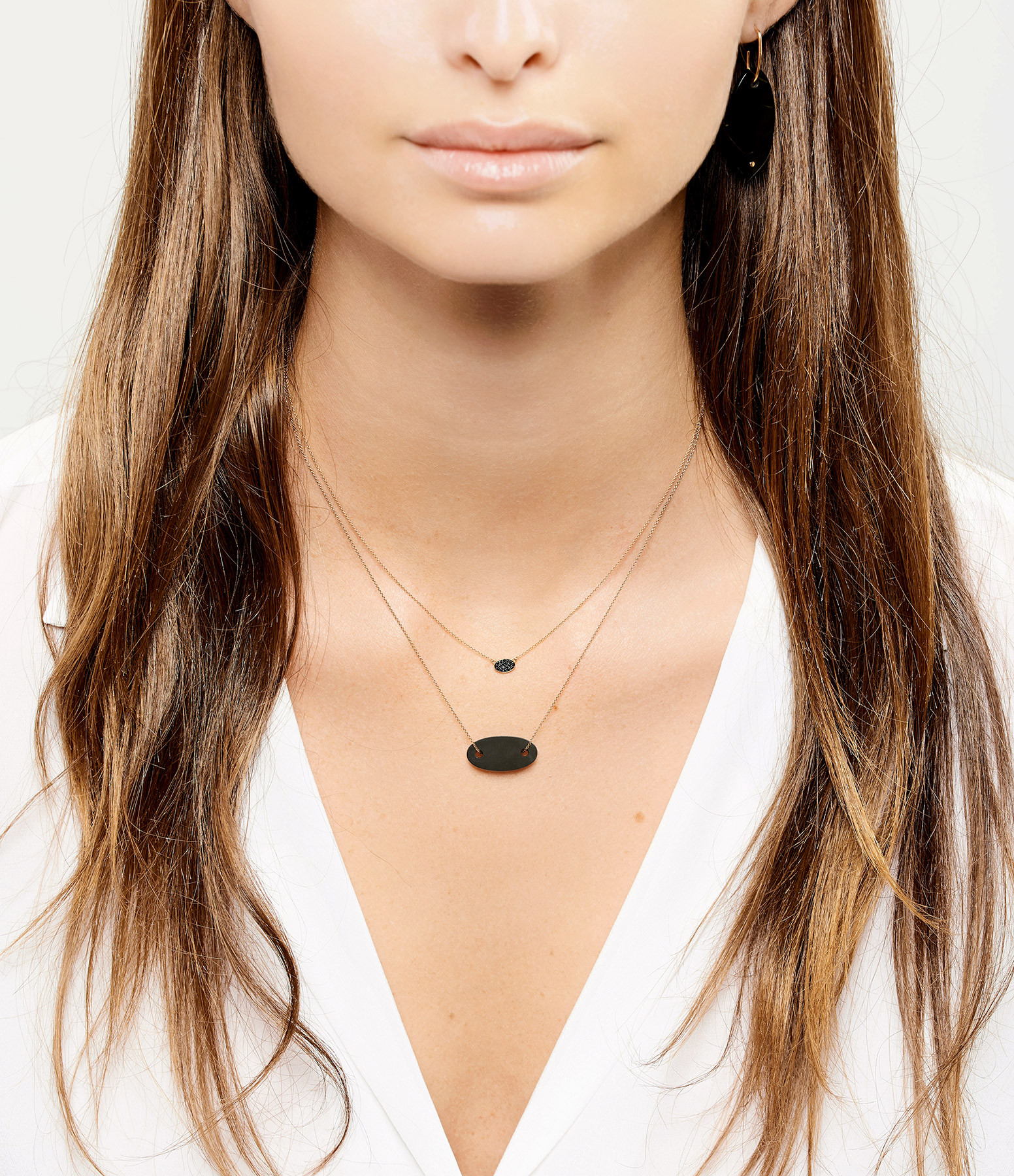 GINETTE_NY - Boucles d'oreilles Ellipses Or Rose Onyx