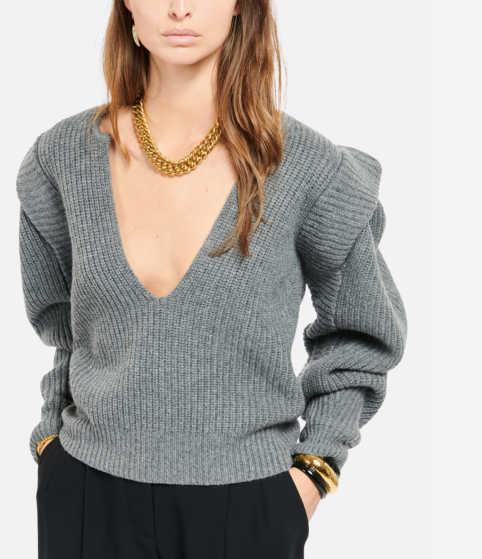 ISABEL MARANT - Pull Reed Laine Cachemire Gris
