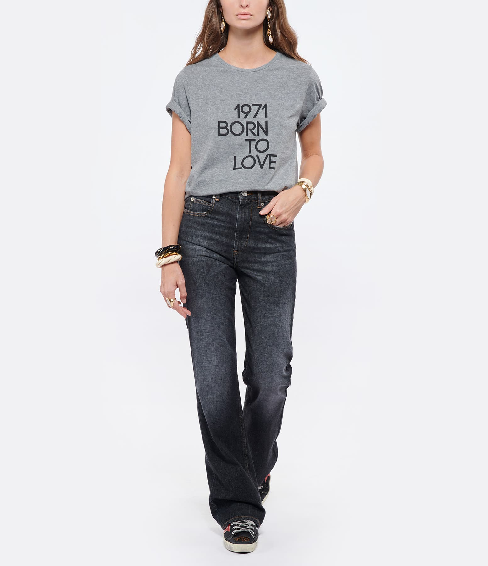 JEANNE VOULAND - Tee-shirt Goz Born To Love Gris