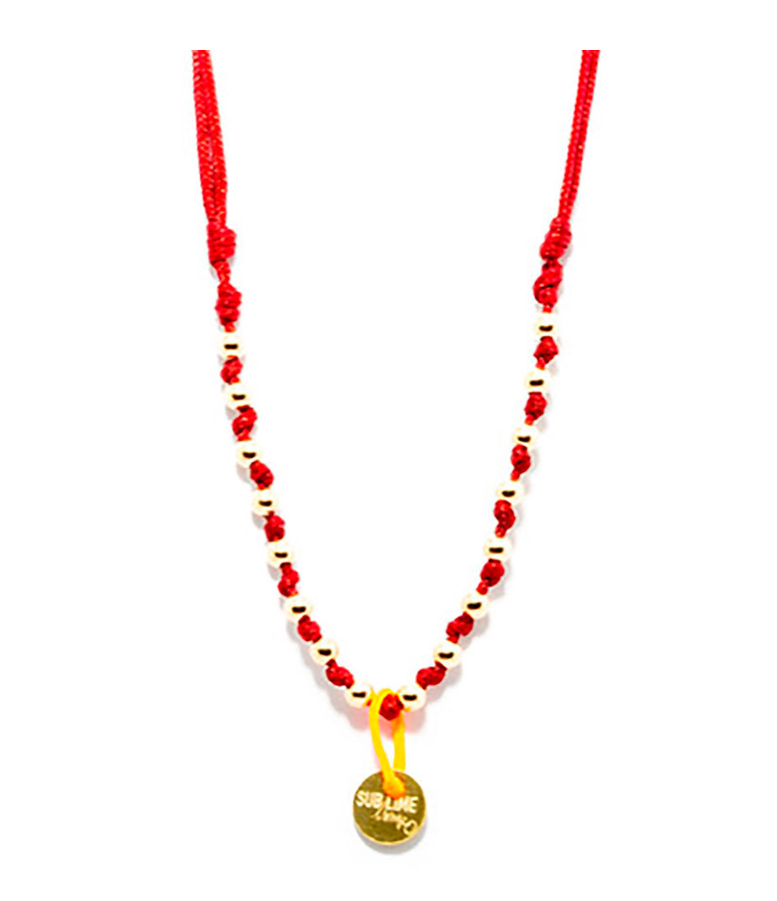 LSONGE - Collier Sublime M Comme Méditer 16 Perles Rubis Or