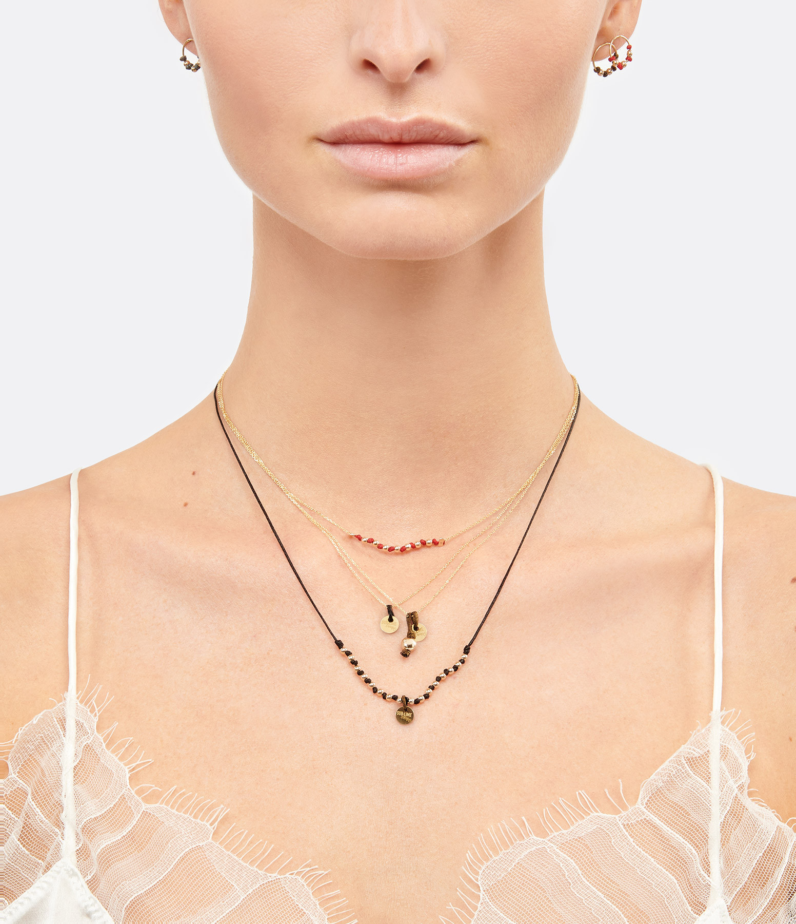 LSONGE - Collier Sublime M Comme Méditer Maxi Perle Taupe O