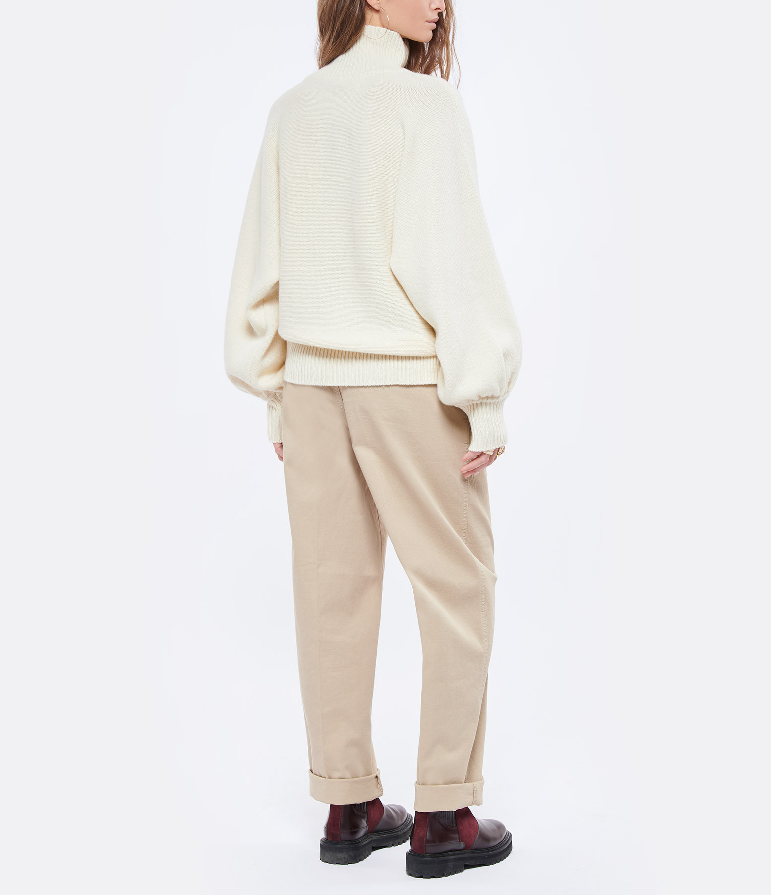MADE IN TOMBOY - Pull Didi Col Roulé Laine Écru