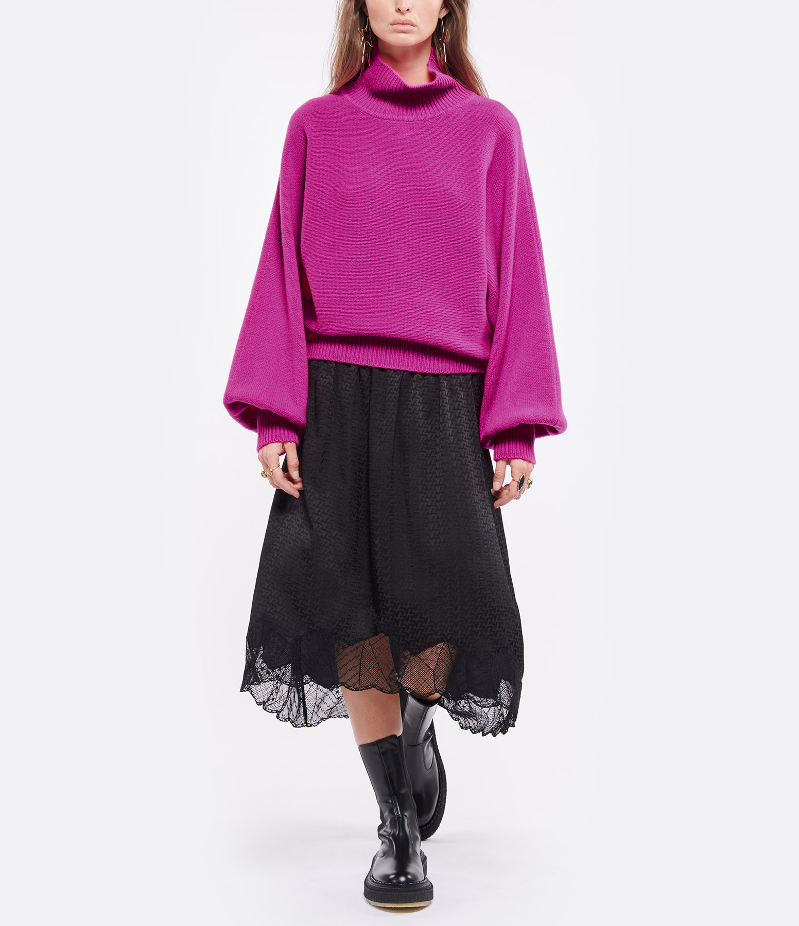 MADE IN TOMBOY - Pull Didi Col Roulé Laine Rose Fushia