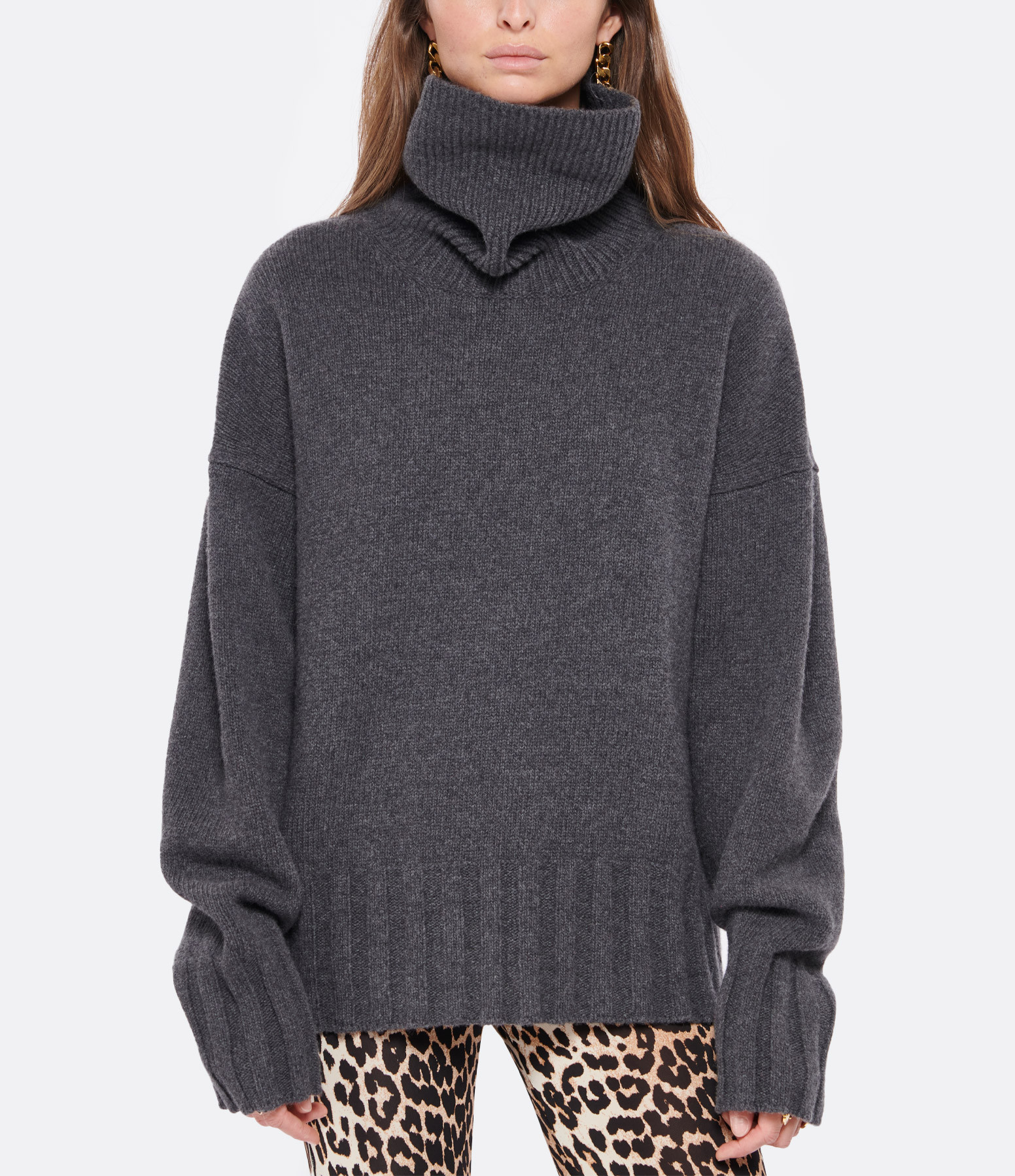 MADE IN TOMBOY - Pull Ely Col Roulé Laine Gris