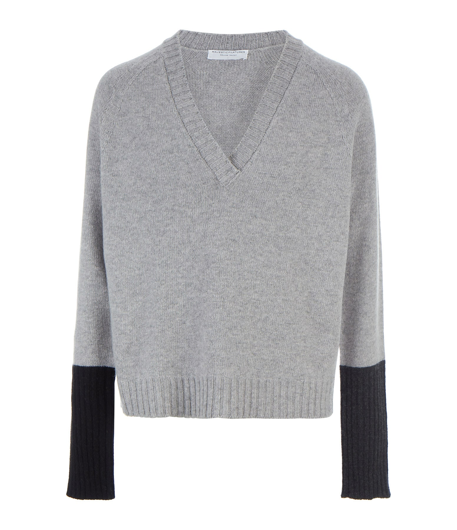 MAJESTIC FILATURES - Pull Col V Gris Clair Chiné
