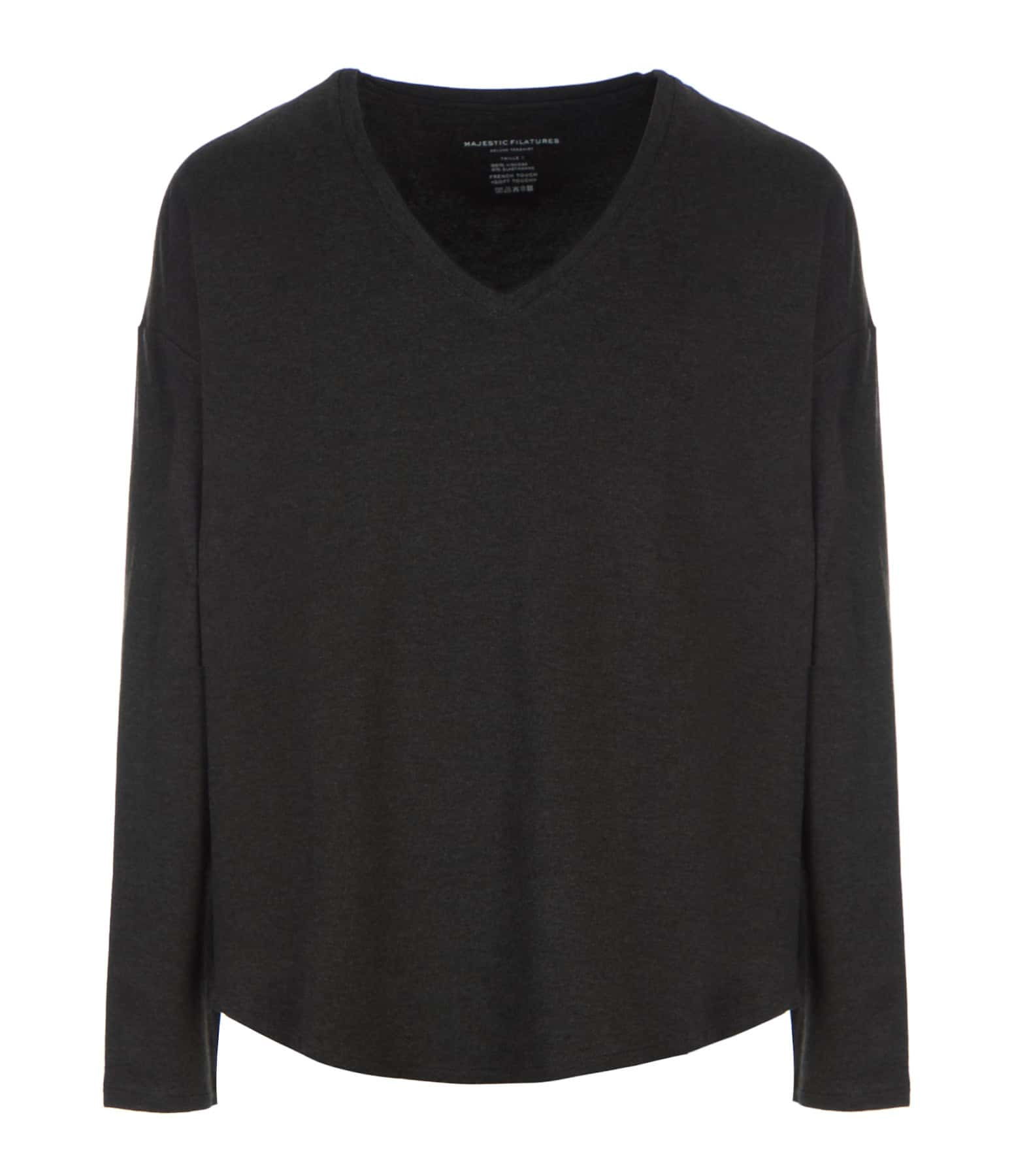 MAJESTIC FILATURES - Pull Col V Anthracite Chiné