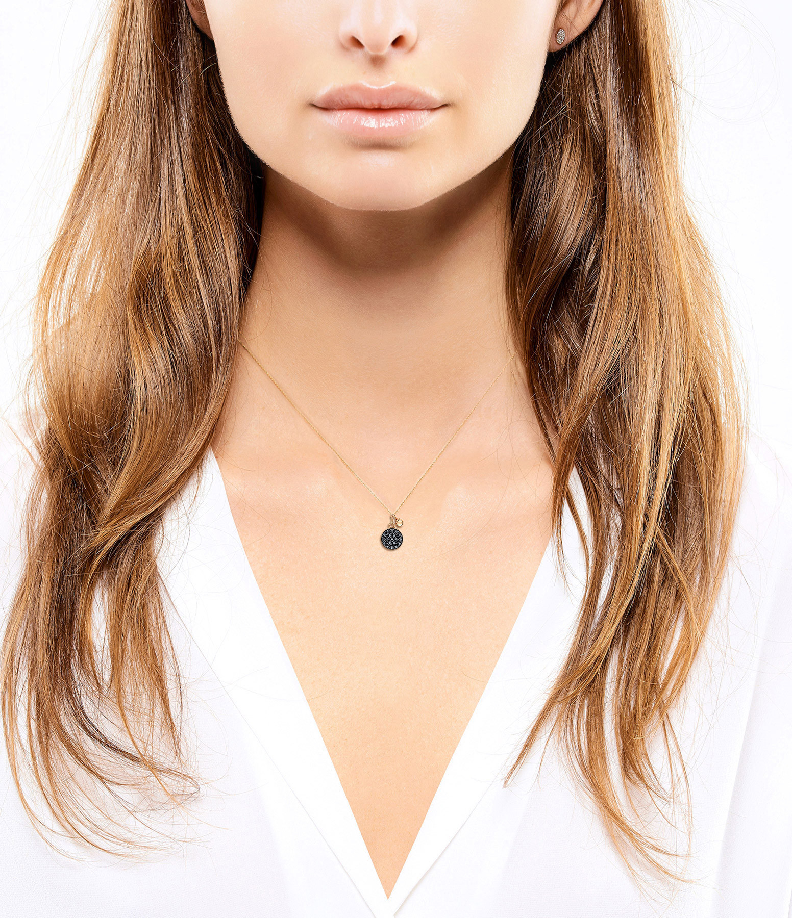 GINETTE_NY - Collier Mini Ever Disc Diamants Noirs