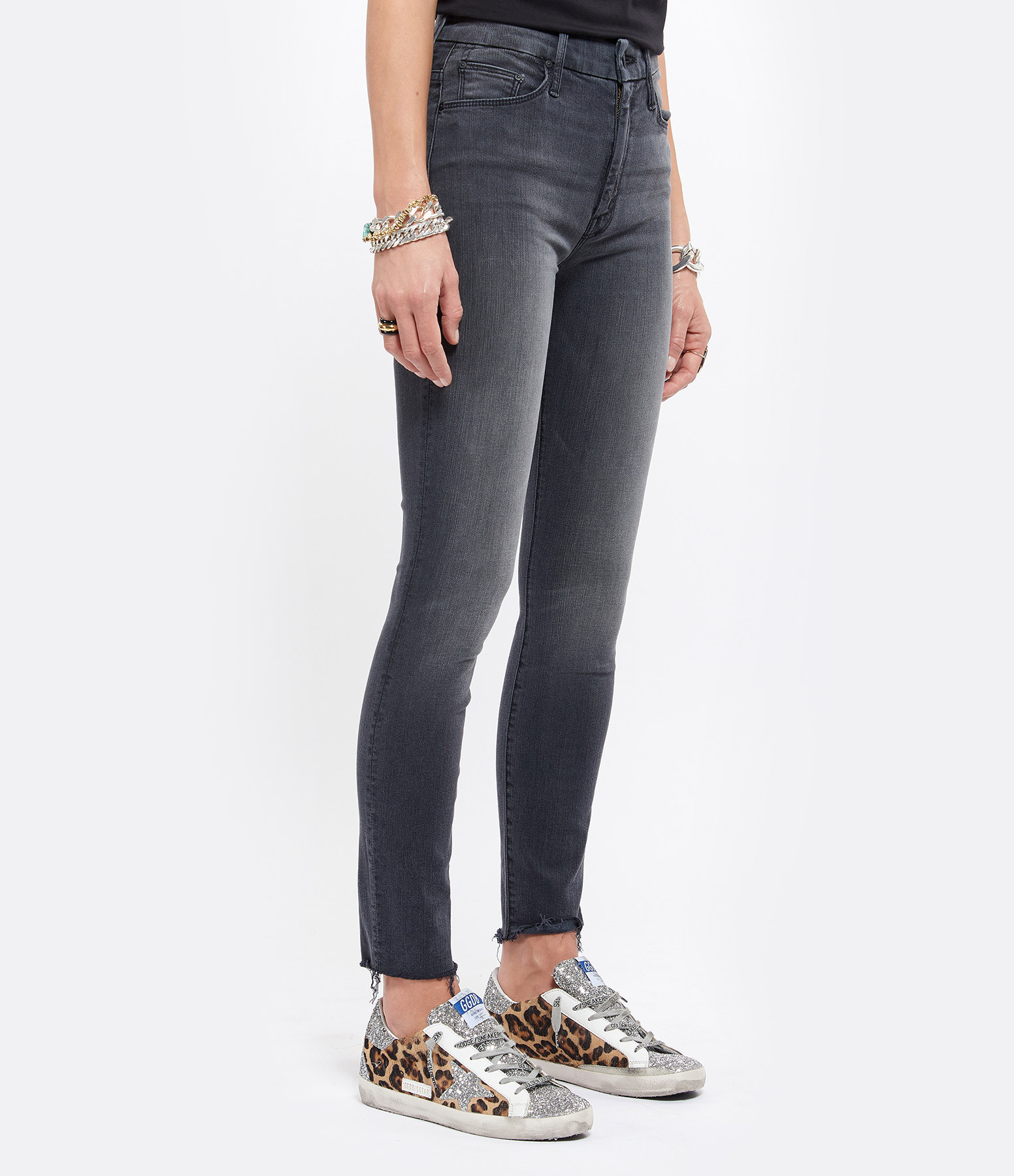 MOTHER - Jean High Waisted Looker Ankle Fray Lighting Up Lanterns