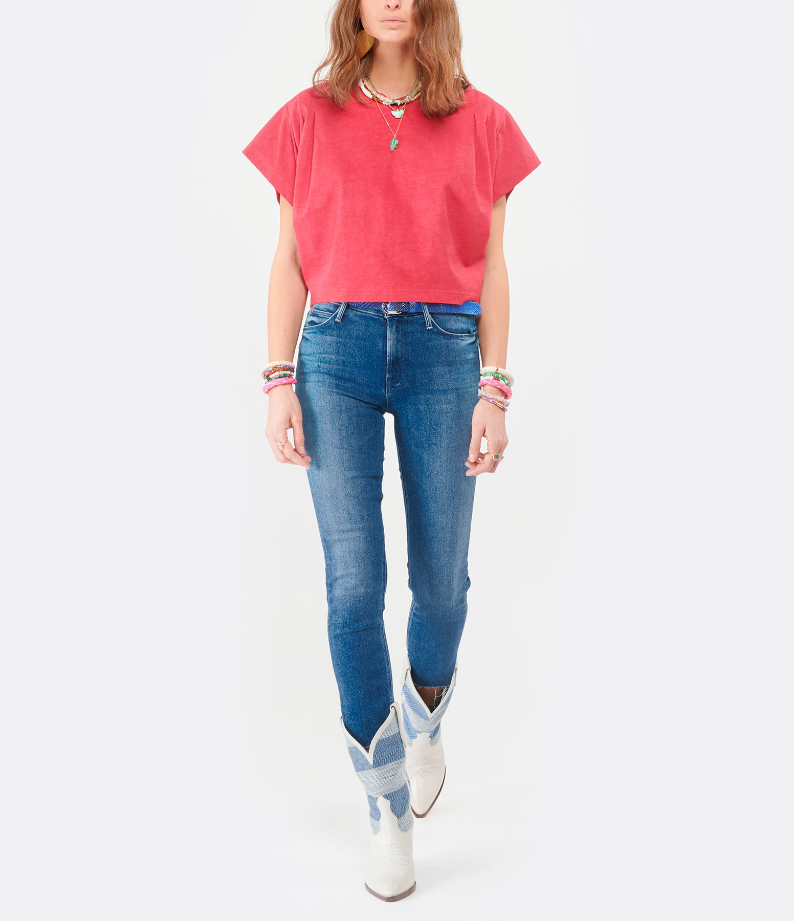 MOTHER - Jean Mid Rise Dazzler Crop Fray We're All In This To