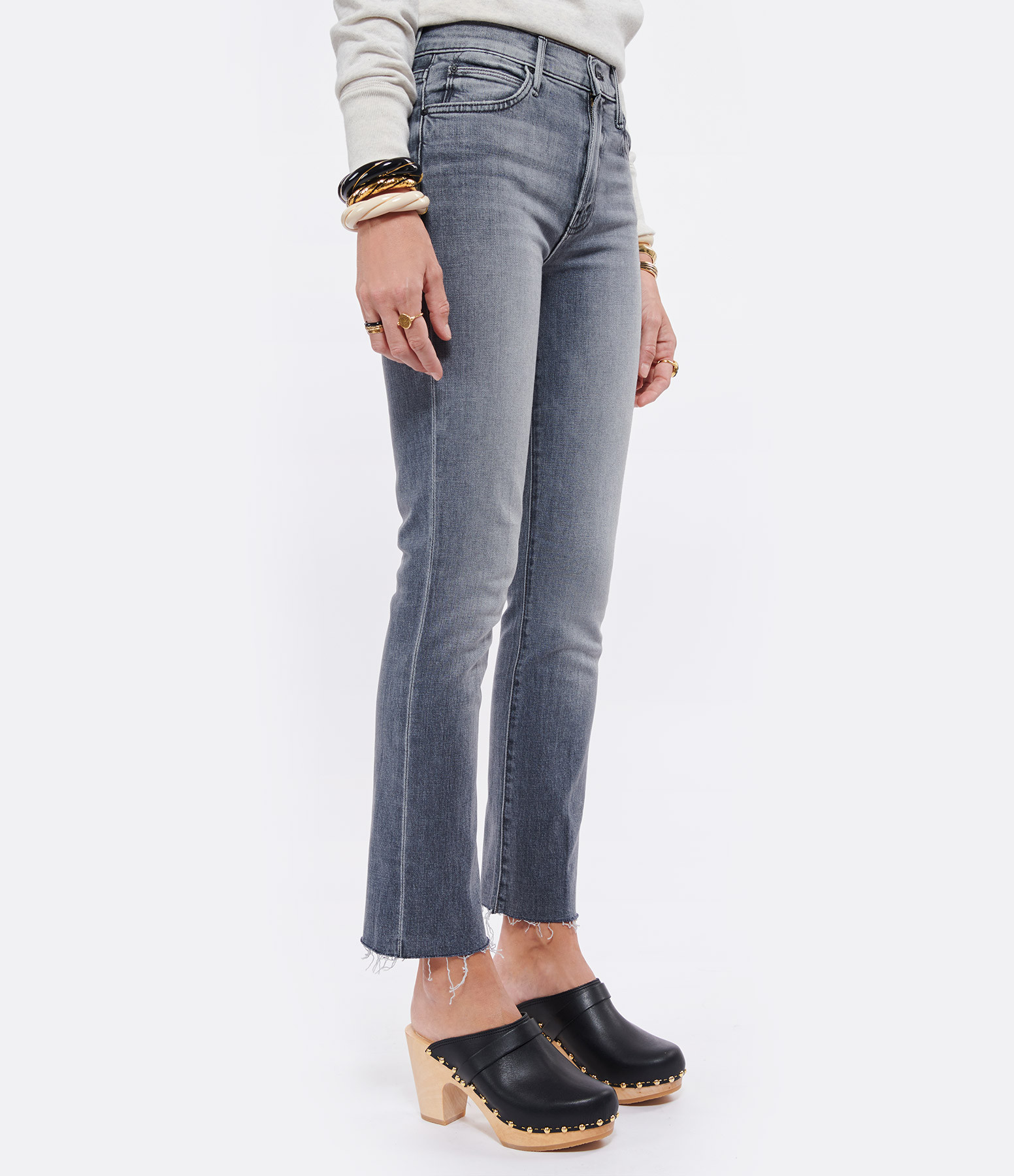 MOTHER - Jean The Rascal Ankle Fray Coton Stitching in The Dark
