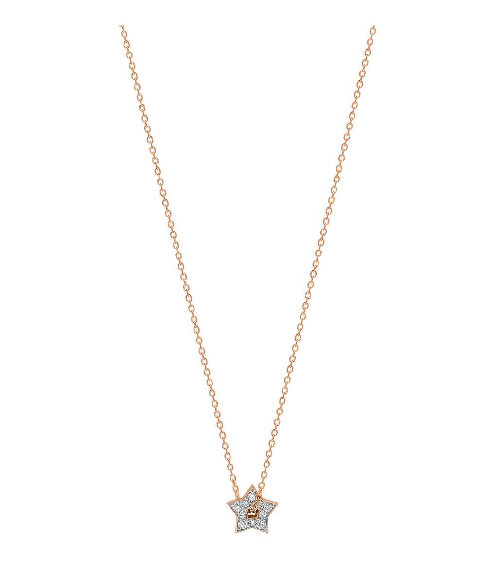 GINETTE_NY - Collier Milky Way Mini Étoile Or Rose Diamants