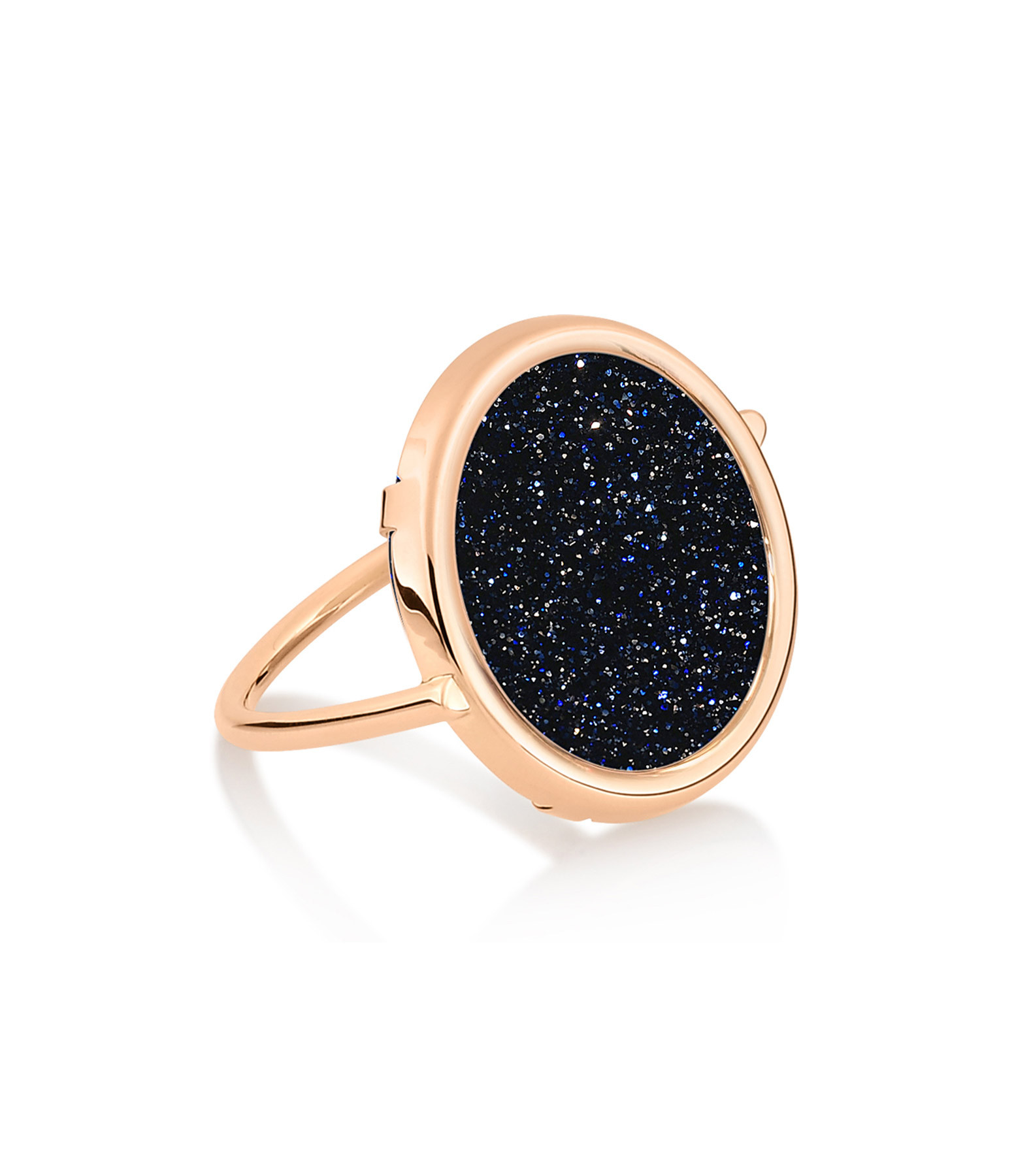 GINETTE NY - Bague Ajna Disc Blue Sand Stone Or Rose