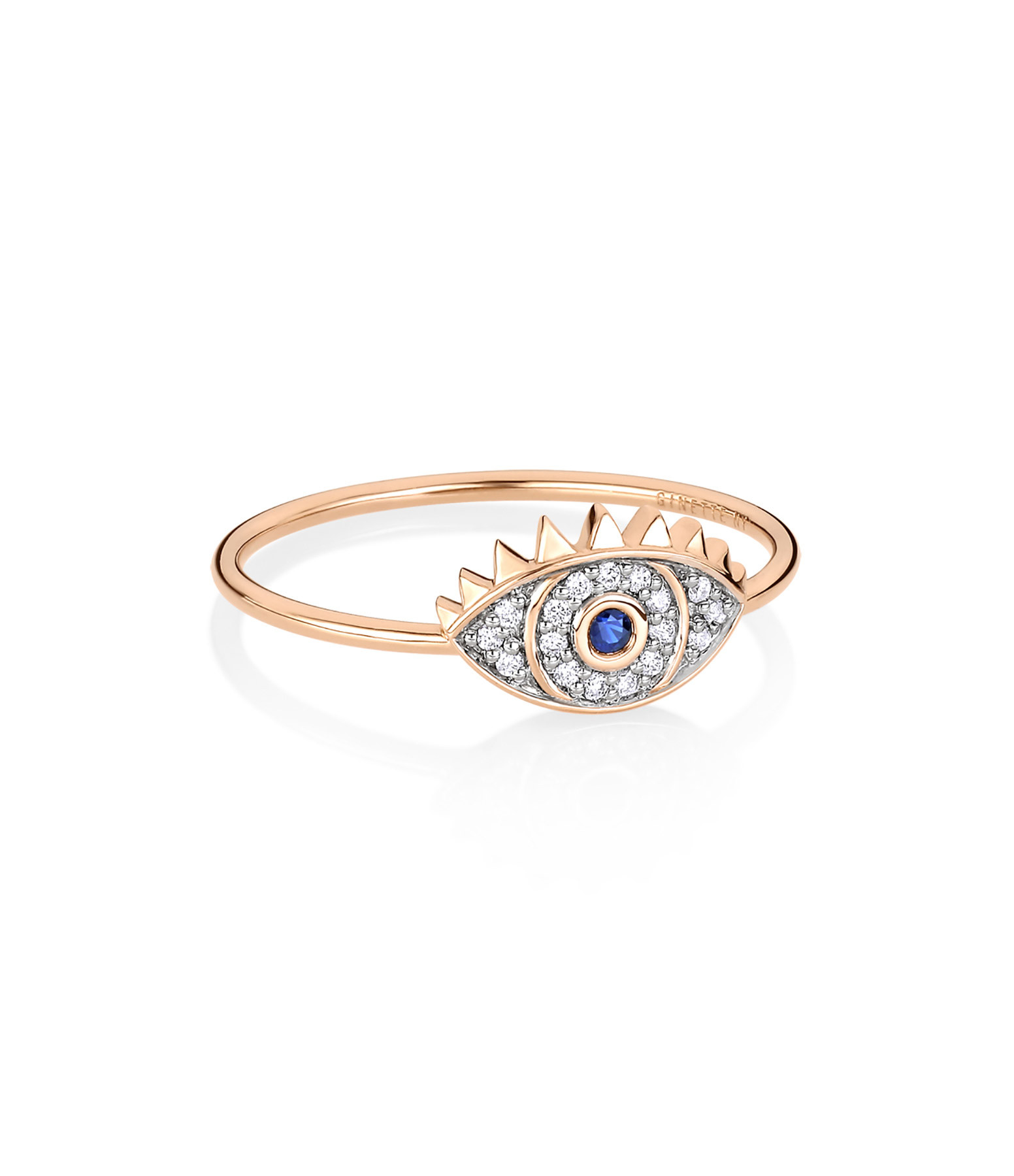 GINETTE NY - Bague Ajna Saphir Diamants Or Rose