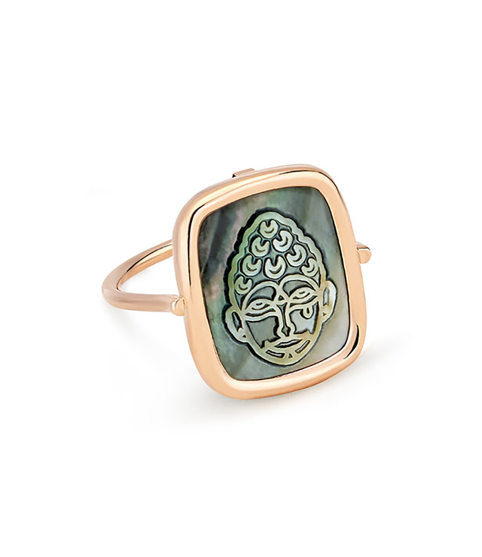 GINETTE NY - Bague Bliss Buddha Black Mop Or Rose