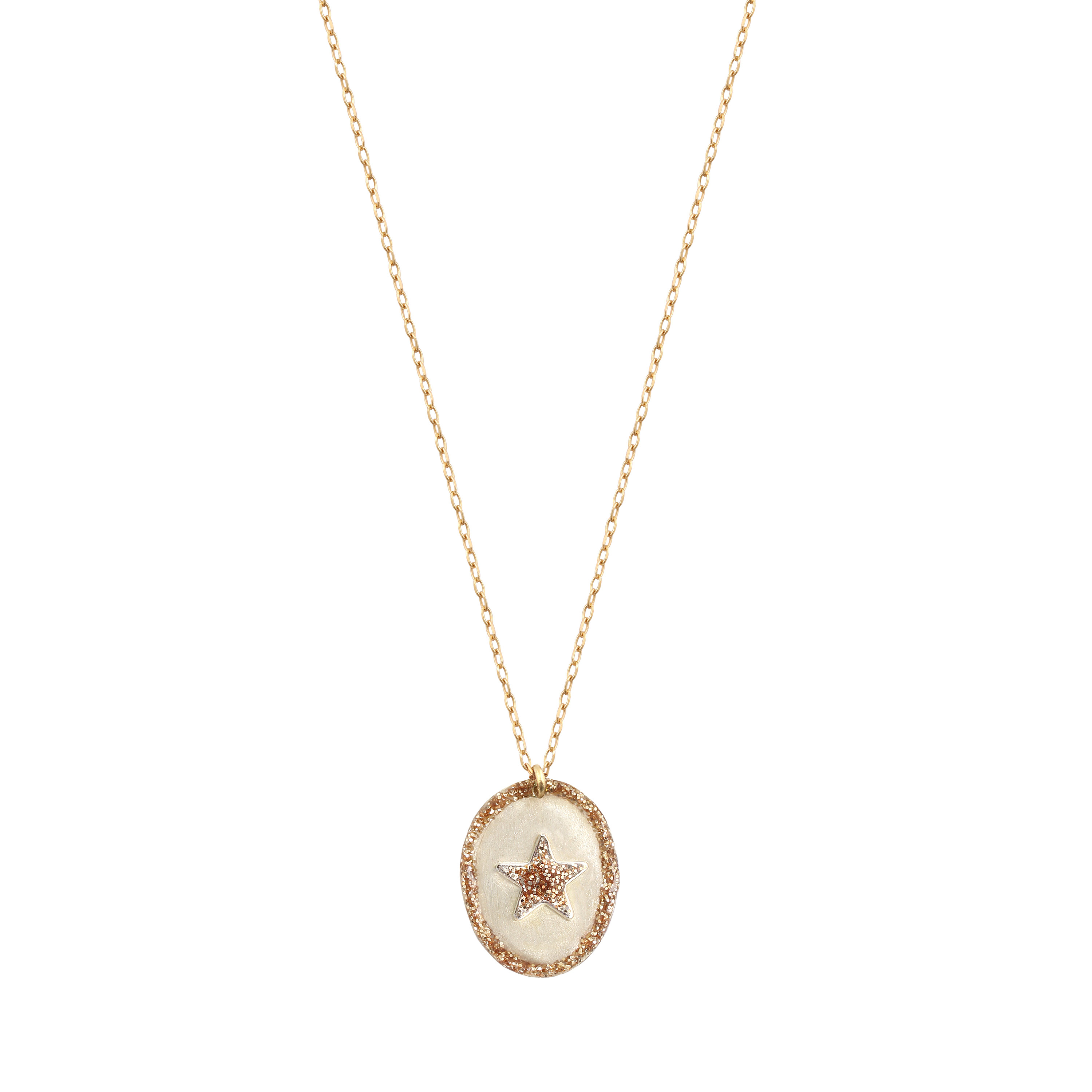 LSONGE - Collier Ovale Star Argent Blanc