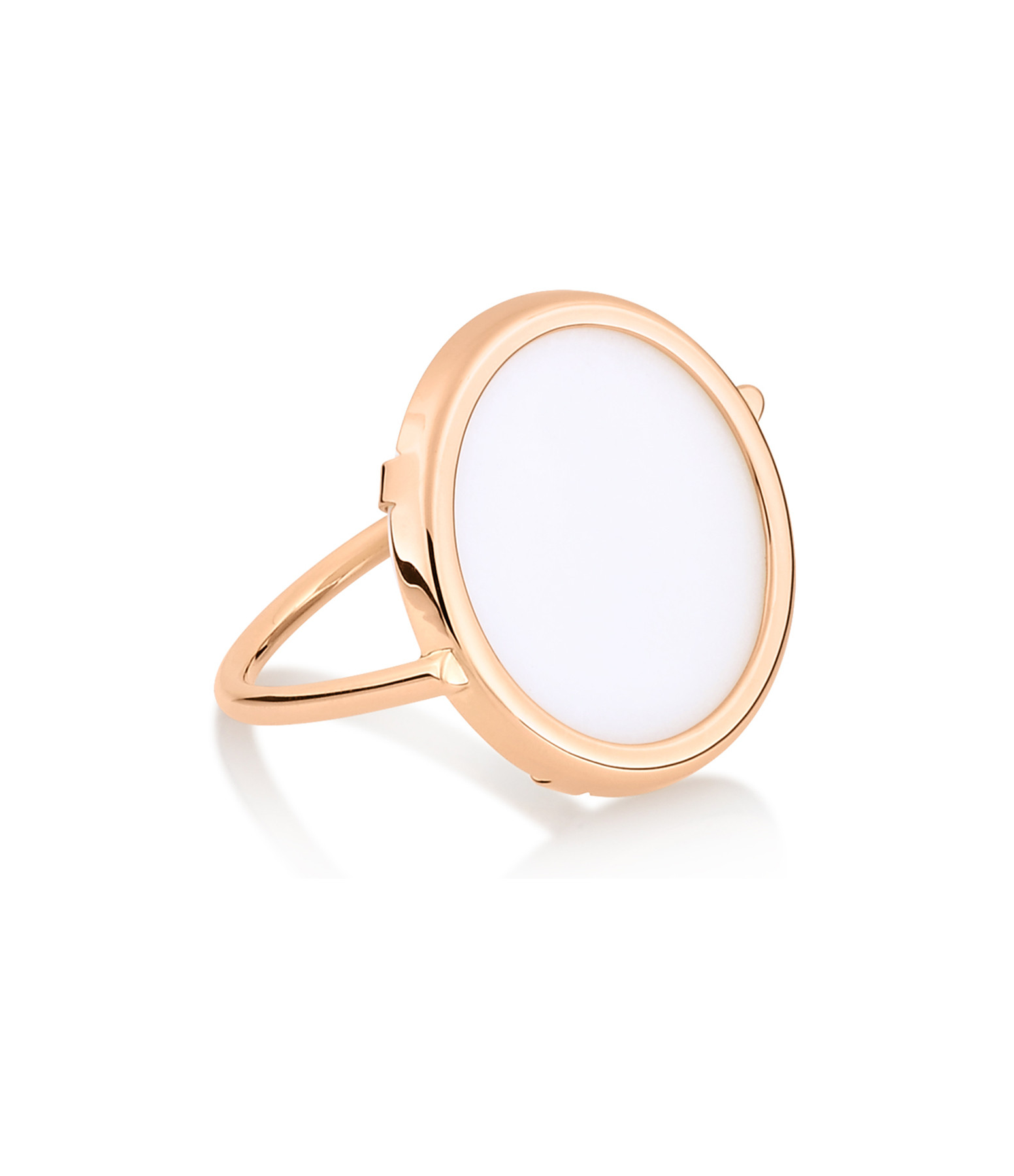 GINETTE NY - Bague Disc Or Rose Agate Blanche