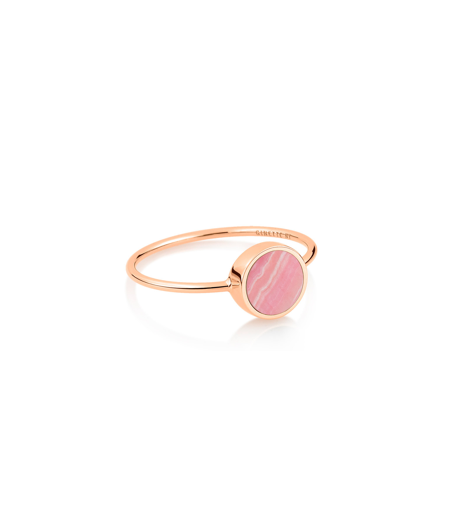GINETTE NY - Bague Ever Mini Disc Or Rose Rhodocrosite