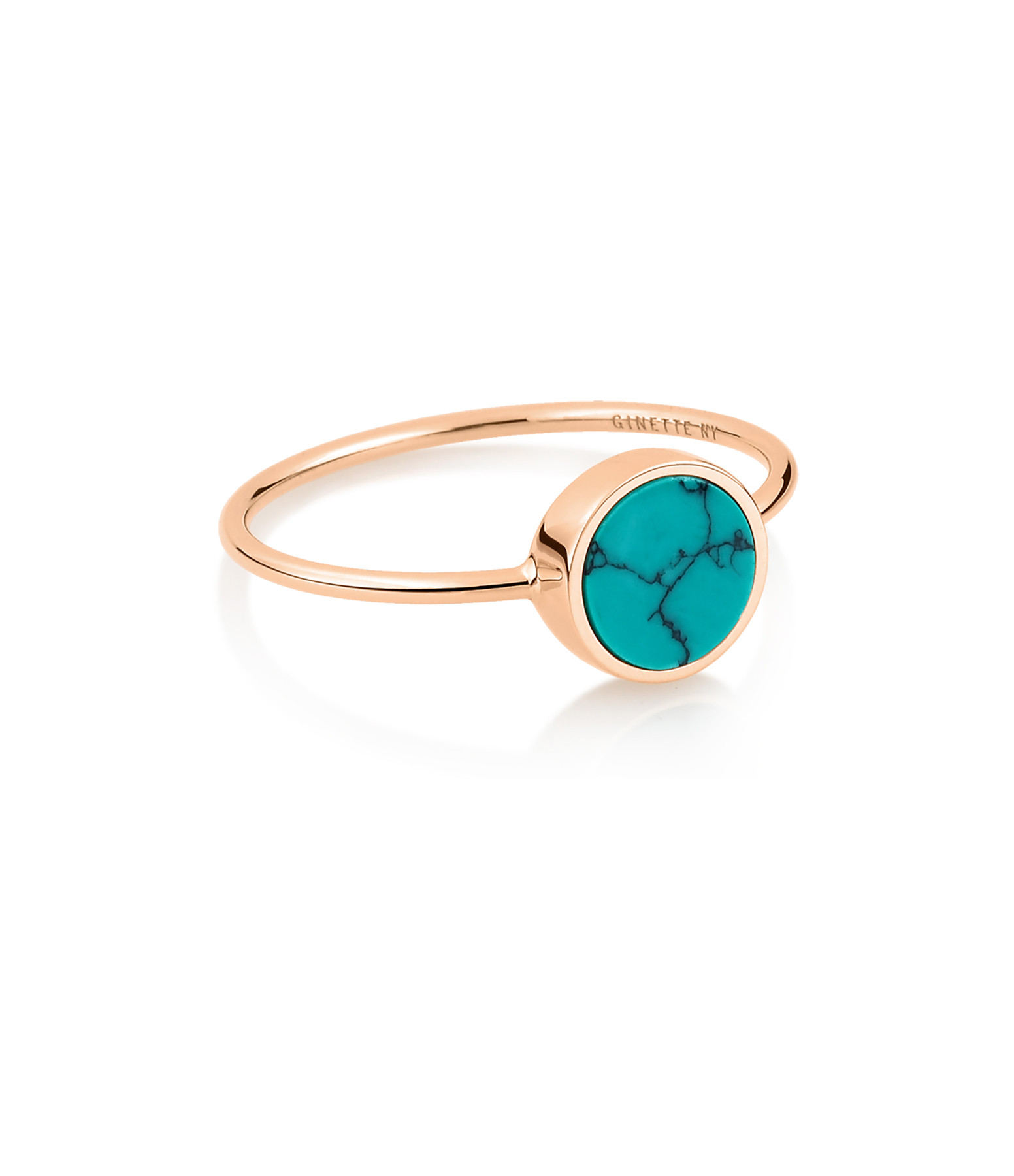 GINETTE NY - Bague Ever Mini Disc Or Rose Turquoise