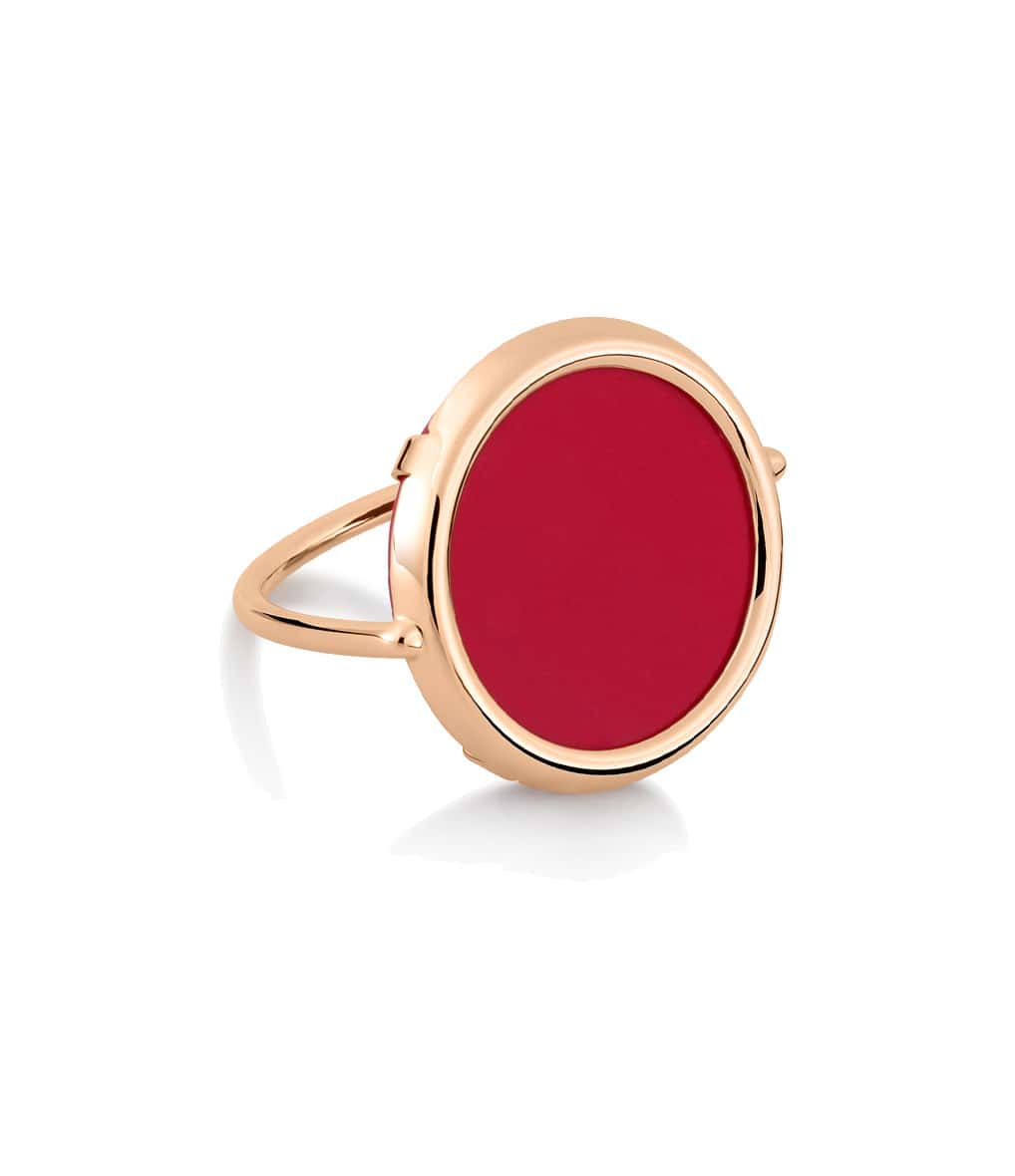 GINETTE_NY - Bague Maria Disc Corail